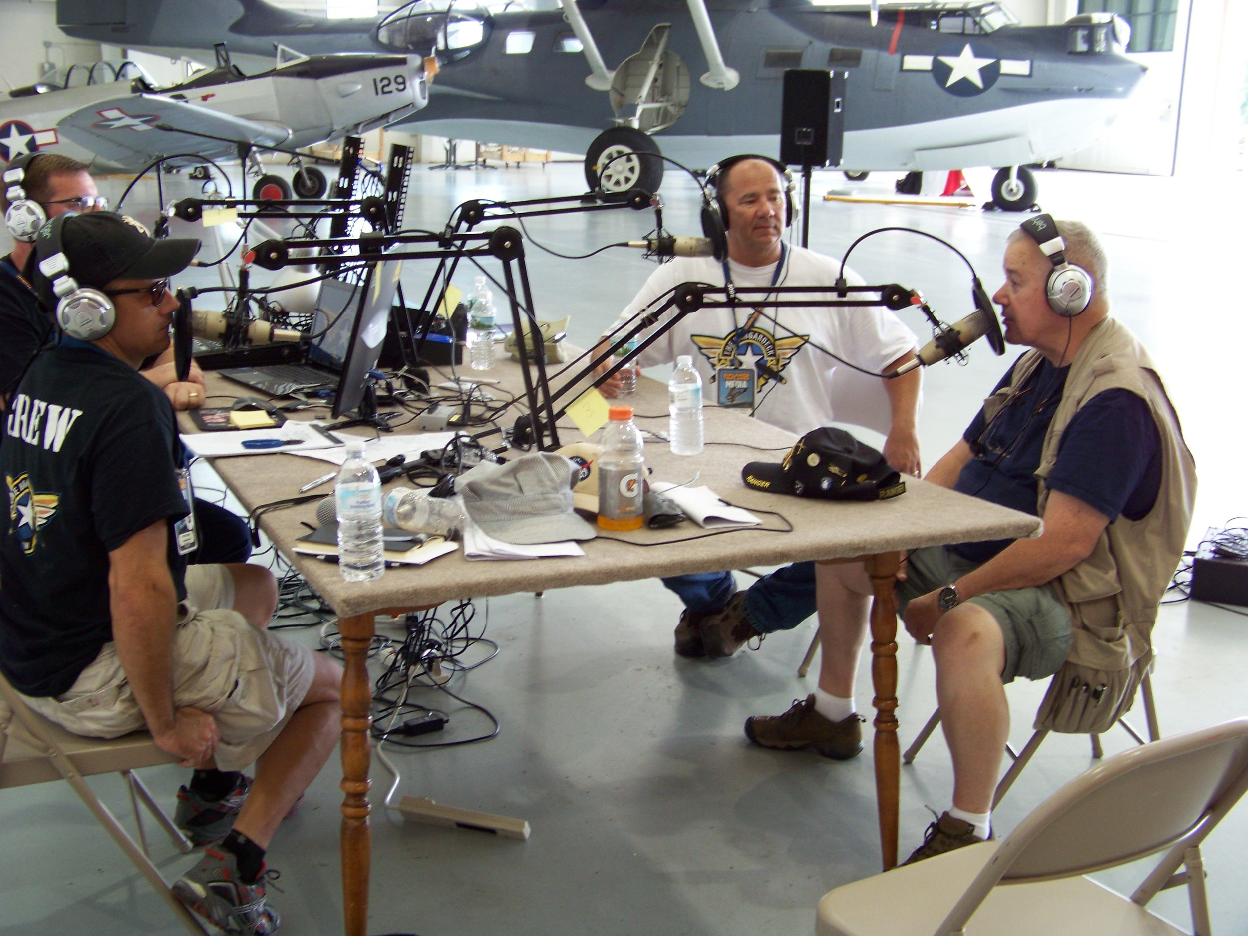 The Hangardeck Podcast team with Distinguished Flying Cross recipient Buzz Lockwood.
