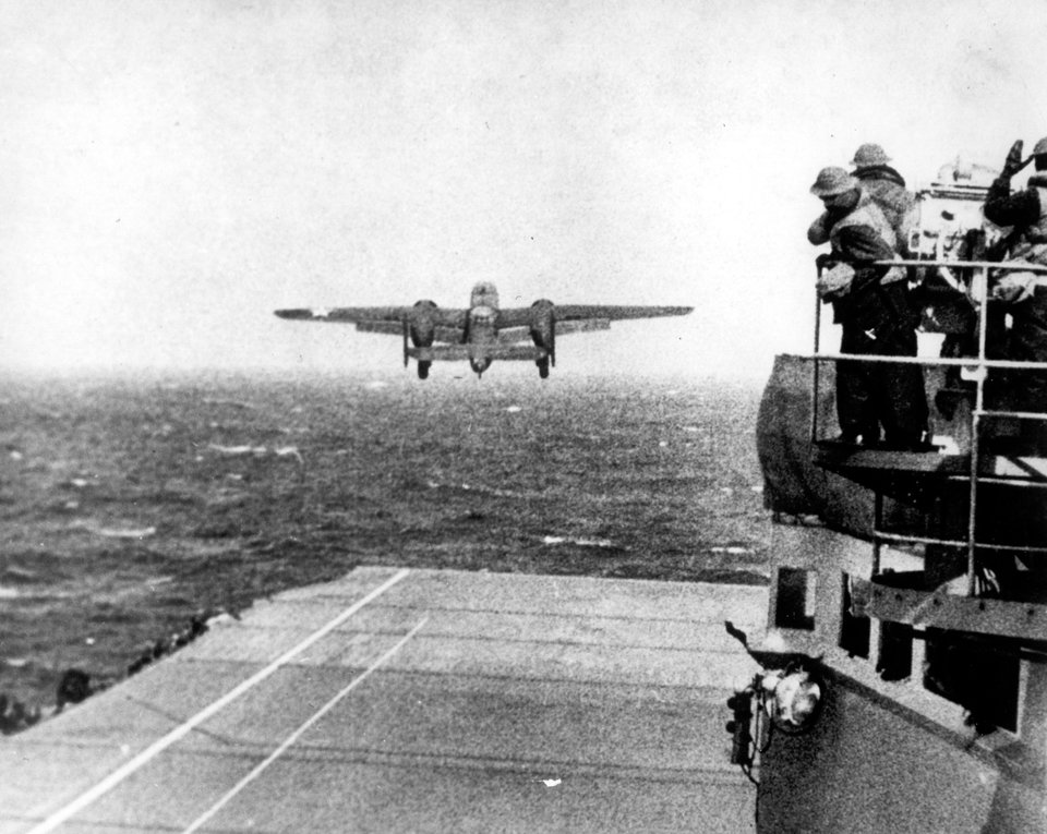 One of Lt. Col. Jimmy Doolittle's B-25 bombers takes off from the flight deck of the USS Hornet for the initial air raid on Tokyo, April 18, 1942. (US Navy, File)
