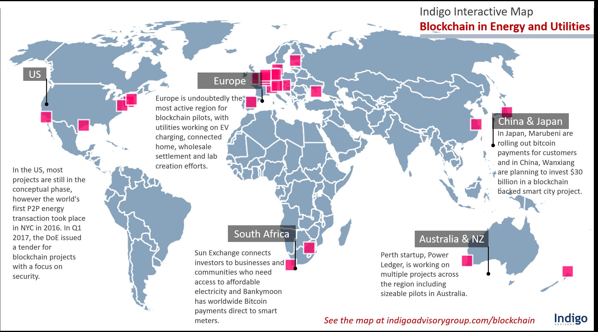 Global Interactive Blockchain in Energy and Utilities Interactive Map