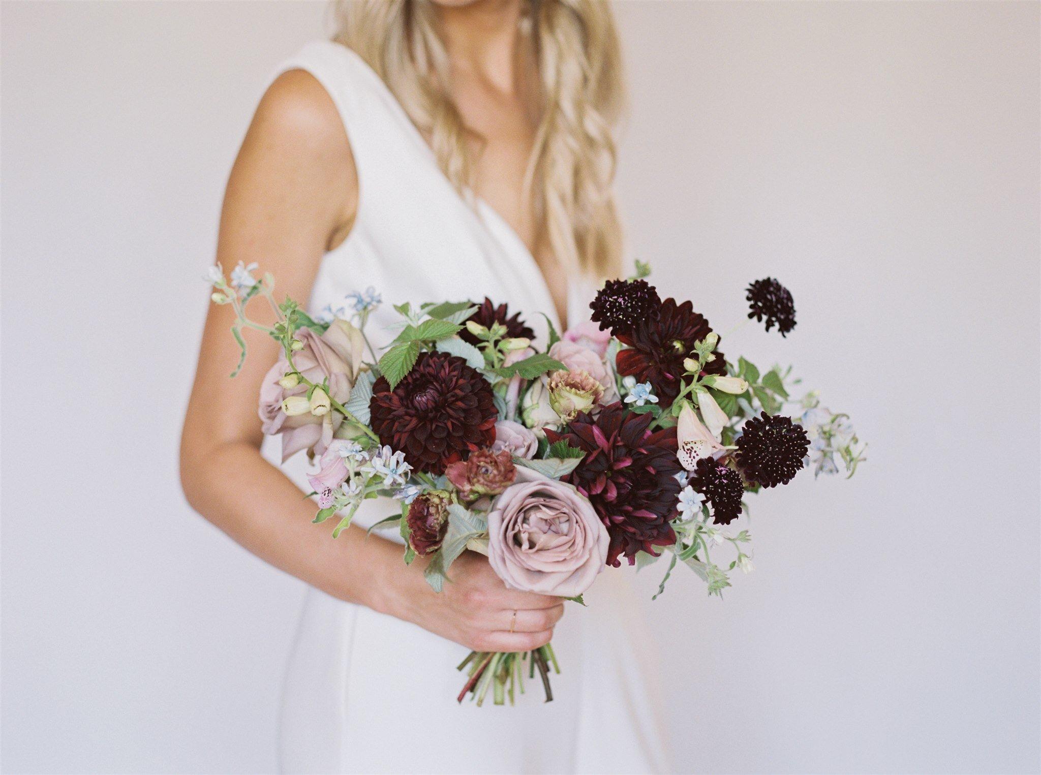 Habitat Floral Studio Berry And Mauve Bridal Bouquet