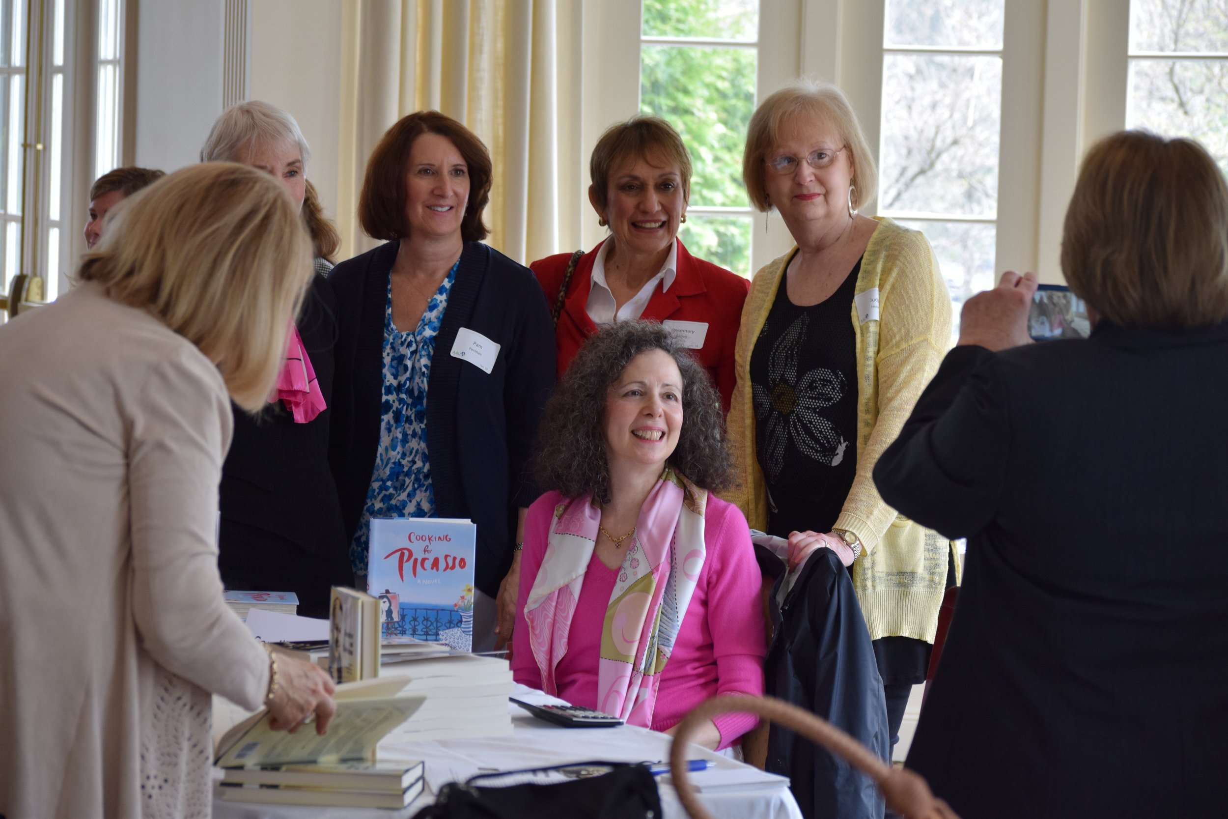 Camille Aubray with book club in Darien, CT at annual luncheon