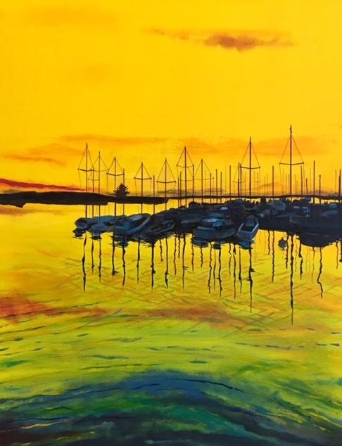 Golden Harbor | Acrylic, SOLD