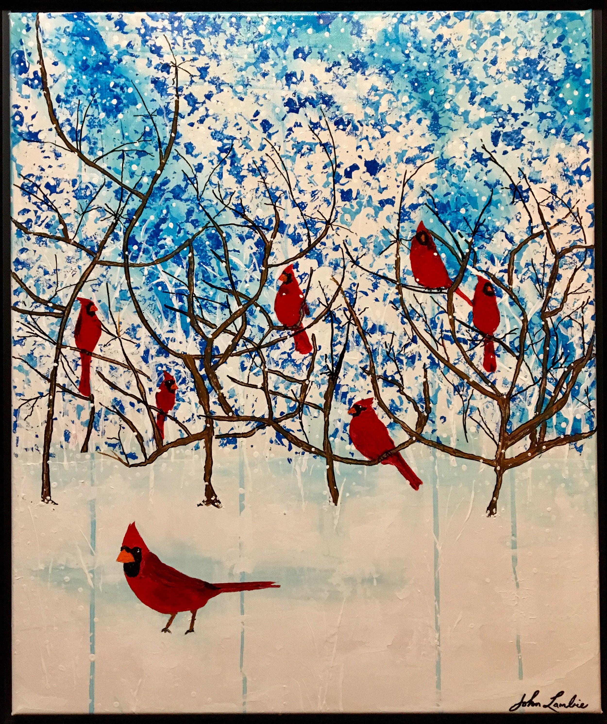 Redbirds, acrylic SOLD