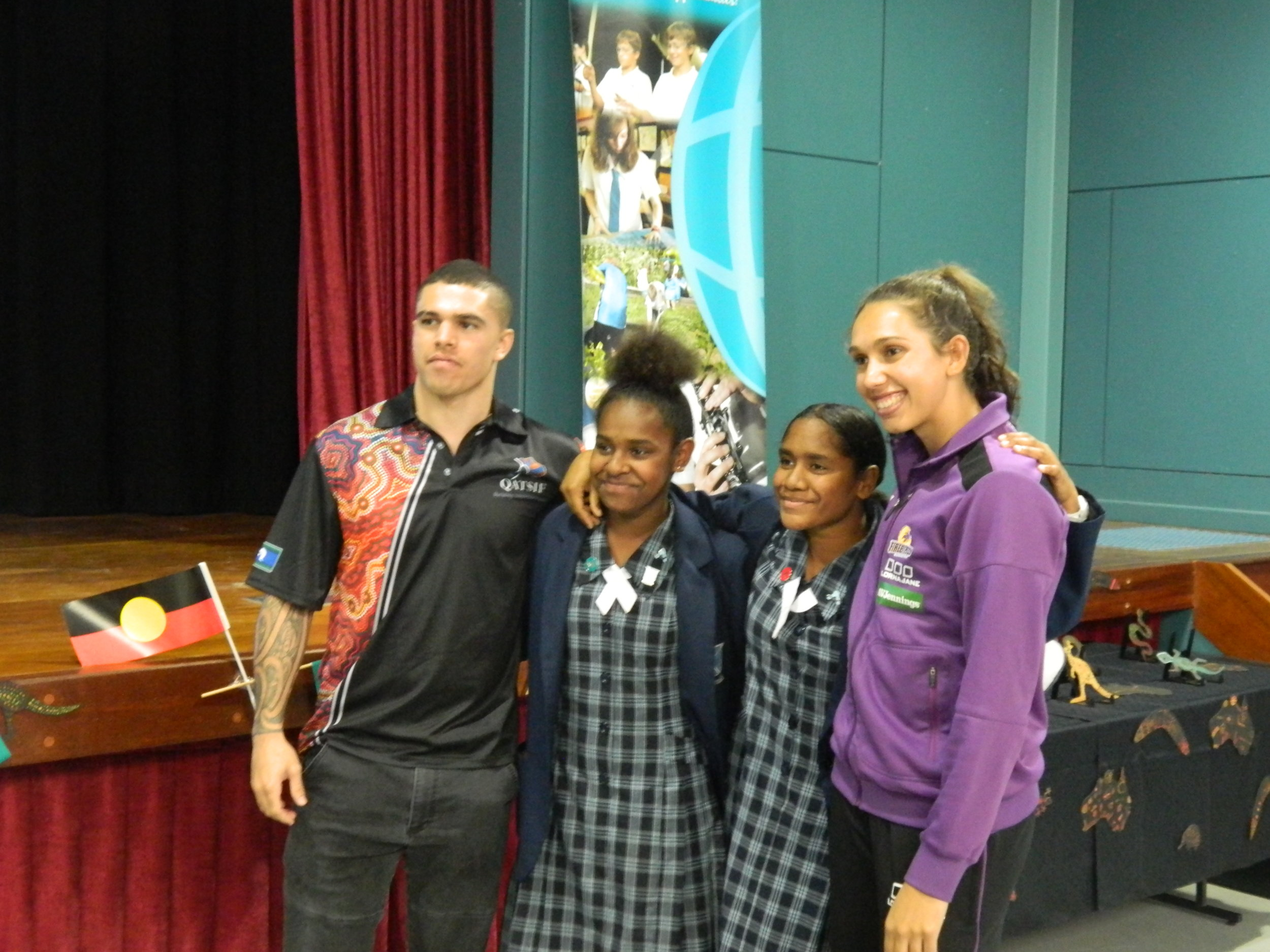 Jemma and Commonwealth Games boxer, Clay Waterman with Ipswich Girls' Grammar School girls.