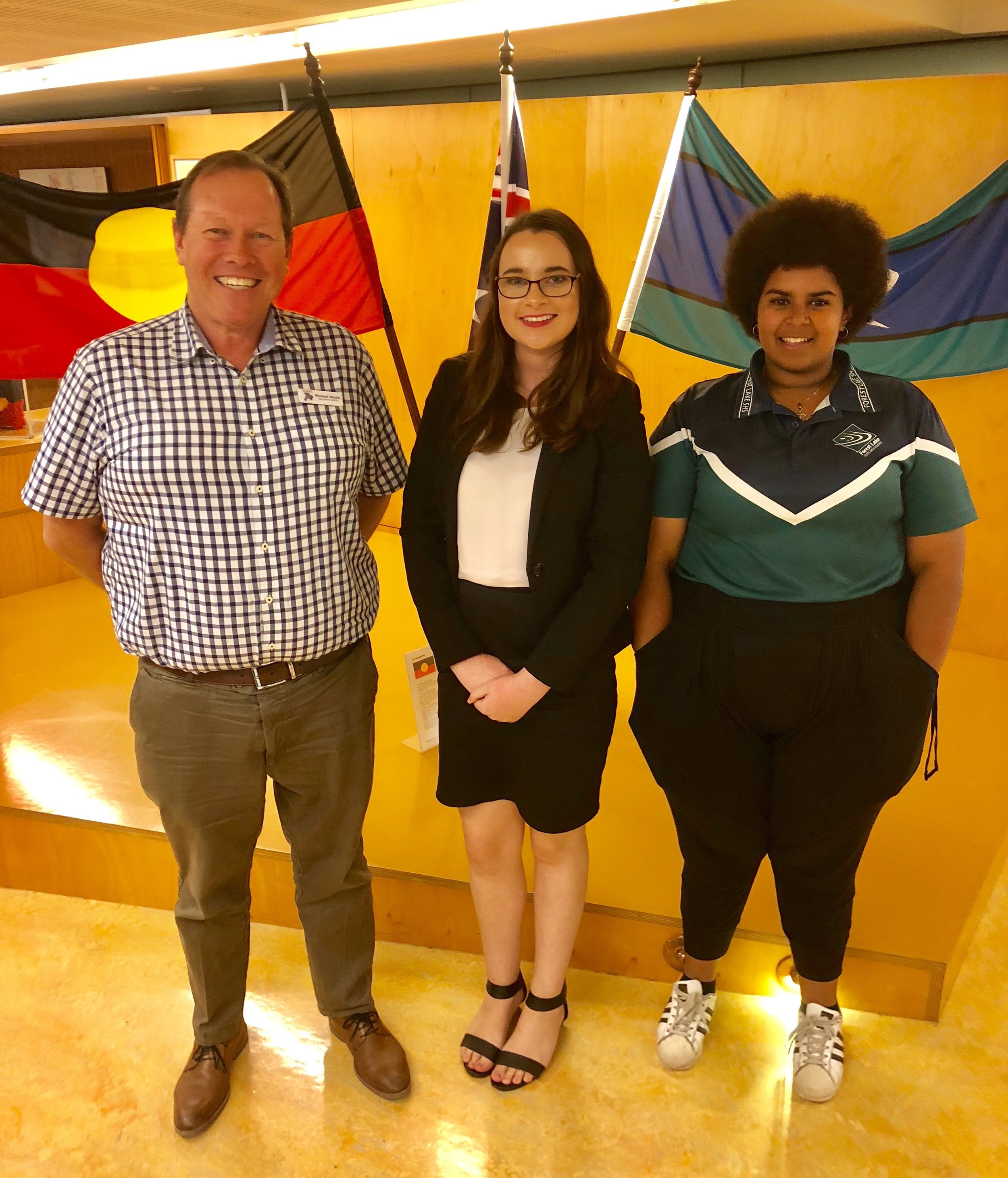 Mike Nayler, Amanda Martin and Jah-Vayday Strong at the Premier's Cyberbullying Task Force consultation