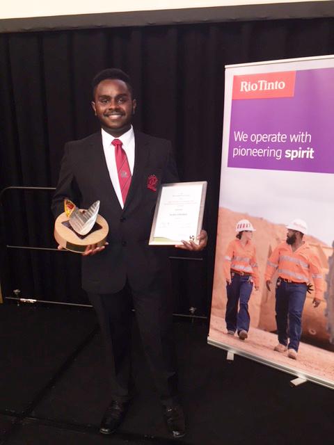 Jayden with his award
