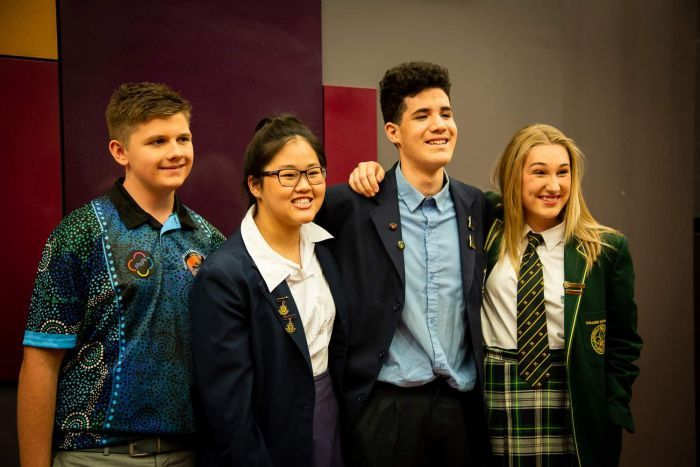 Reuben (2nd from right) with his fellow Q&A student panellists