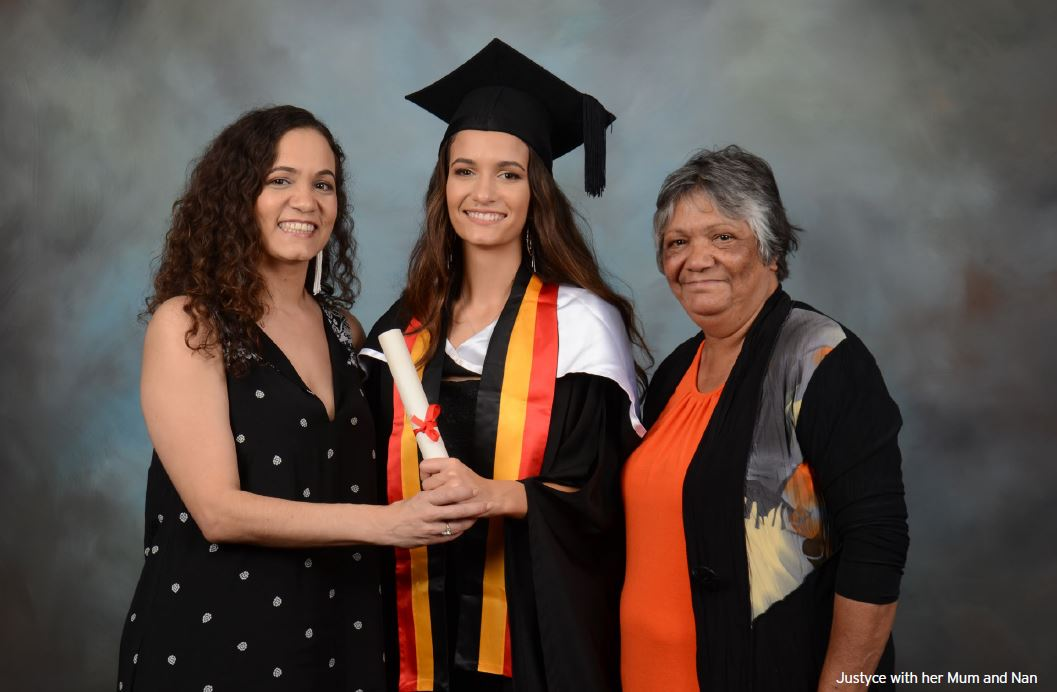 Justyce with her proud mum and Grandma.