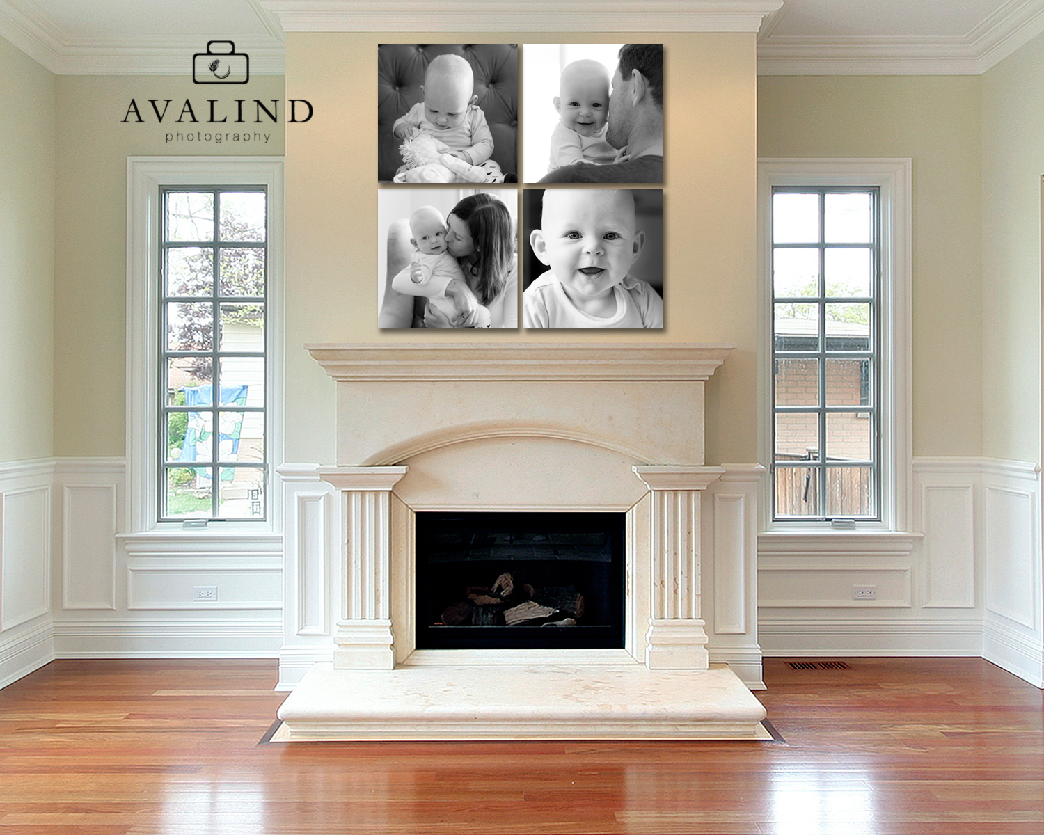 Wall cluster 4 20x20 canvas fireplace.jpg