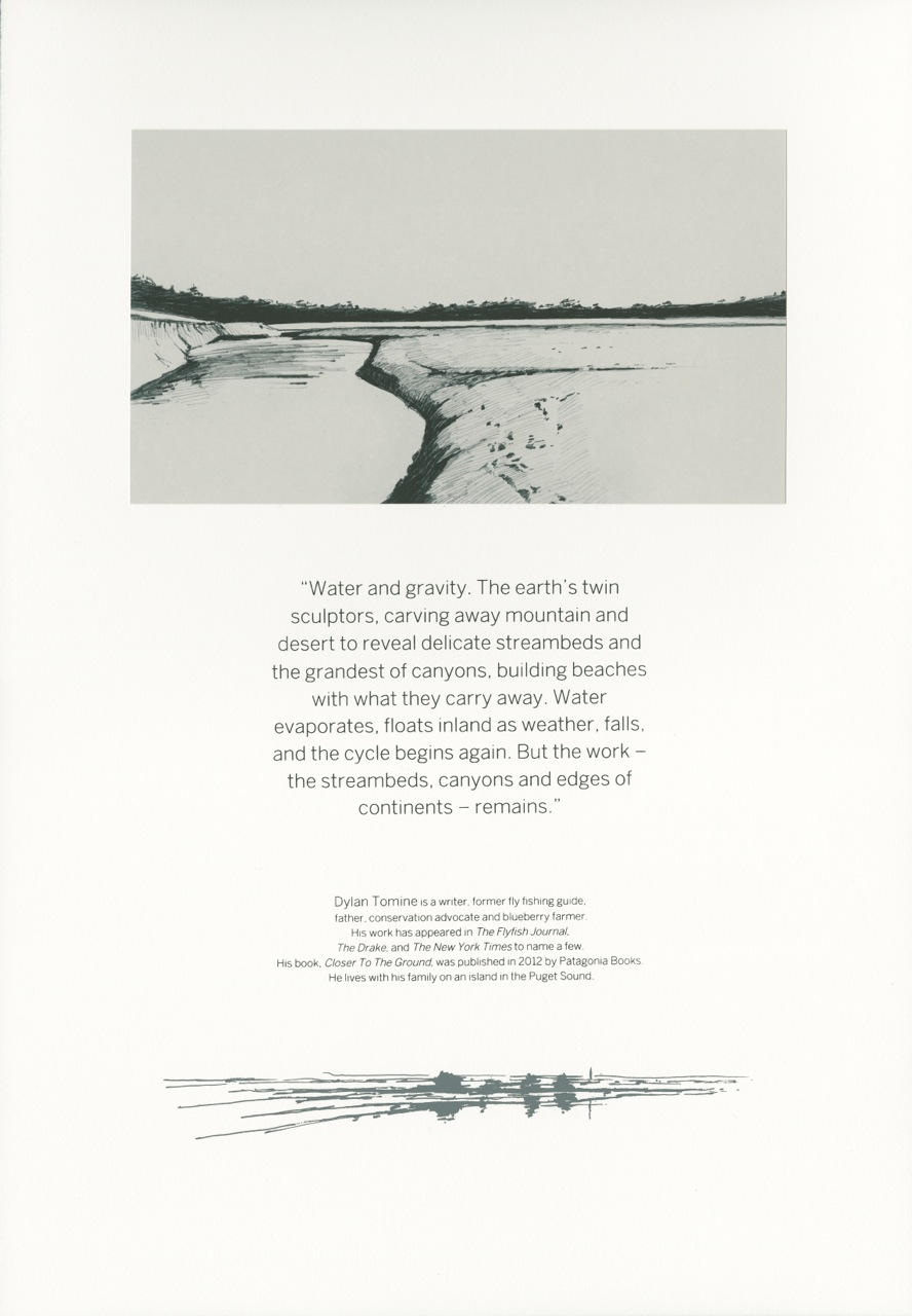 Hand printed folio using silkscreen and intaglio printmaking techniques, water-based ink. Quote by Dylan Tomine. Printed with permission on page 64 in   Honoring Our Rivers   Issue 18.