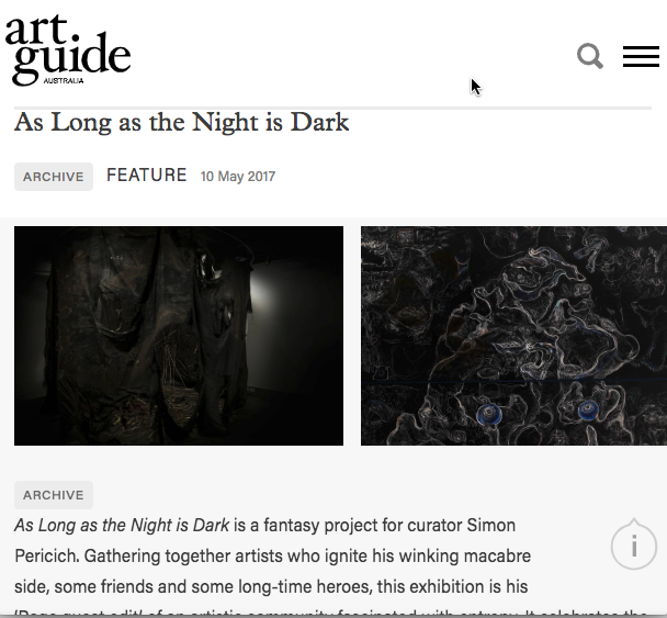 Feature in Art Guide :  Sheridan Coleman  May 2017