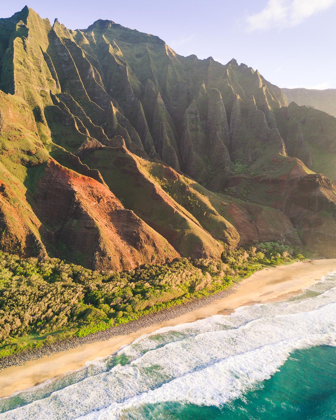 The famous ridges that define the Na Pali Coast in Kauai.