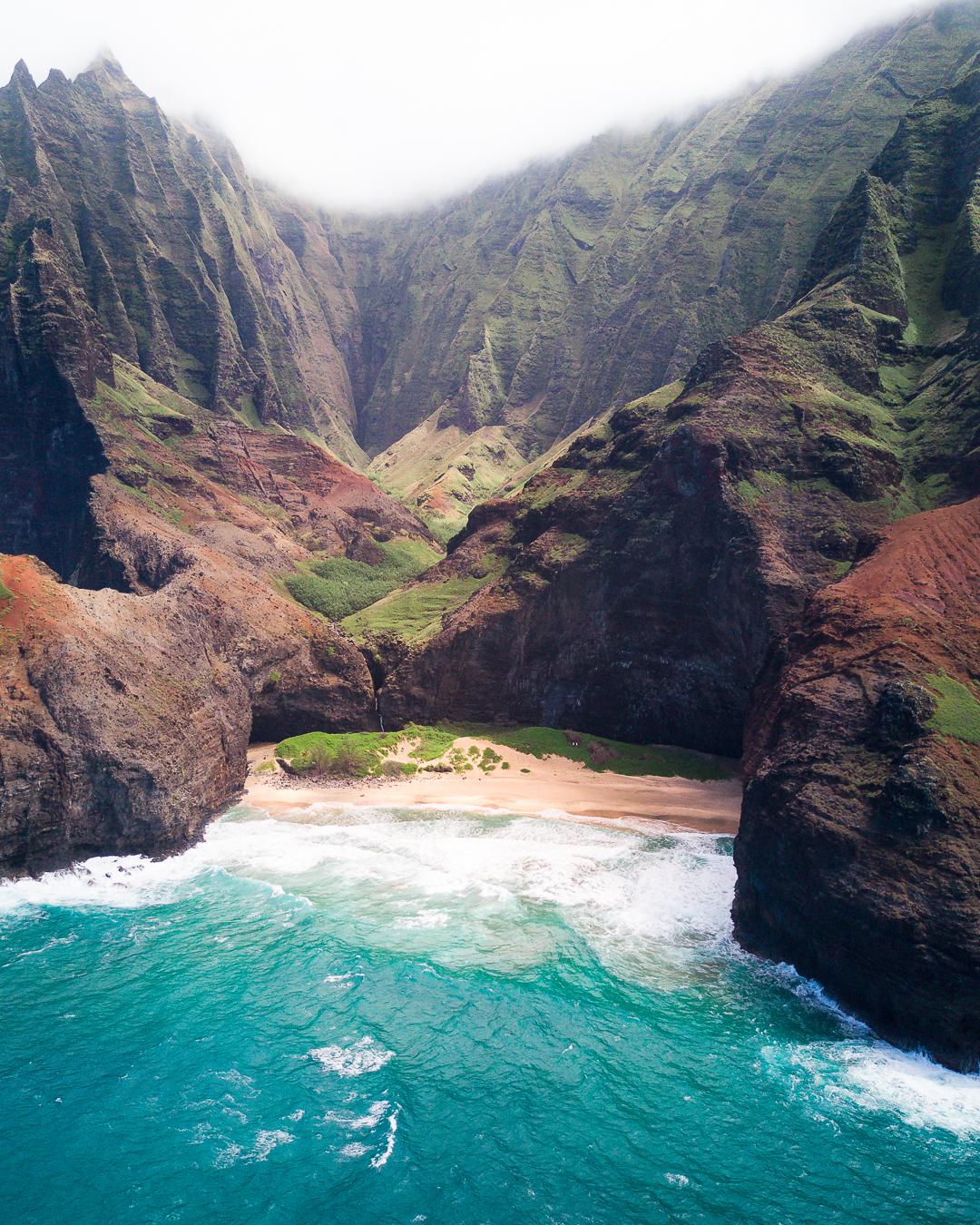 Areal views of the Na Pali Coast in Kauai.