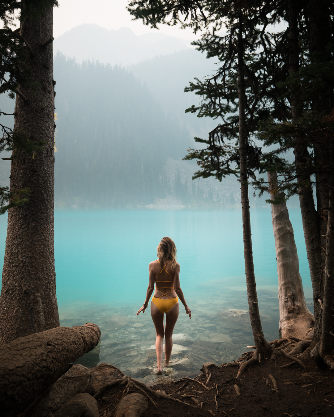 Cooling down in the water at Joffree Lakes, BC, Canada.