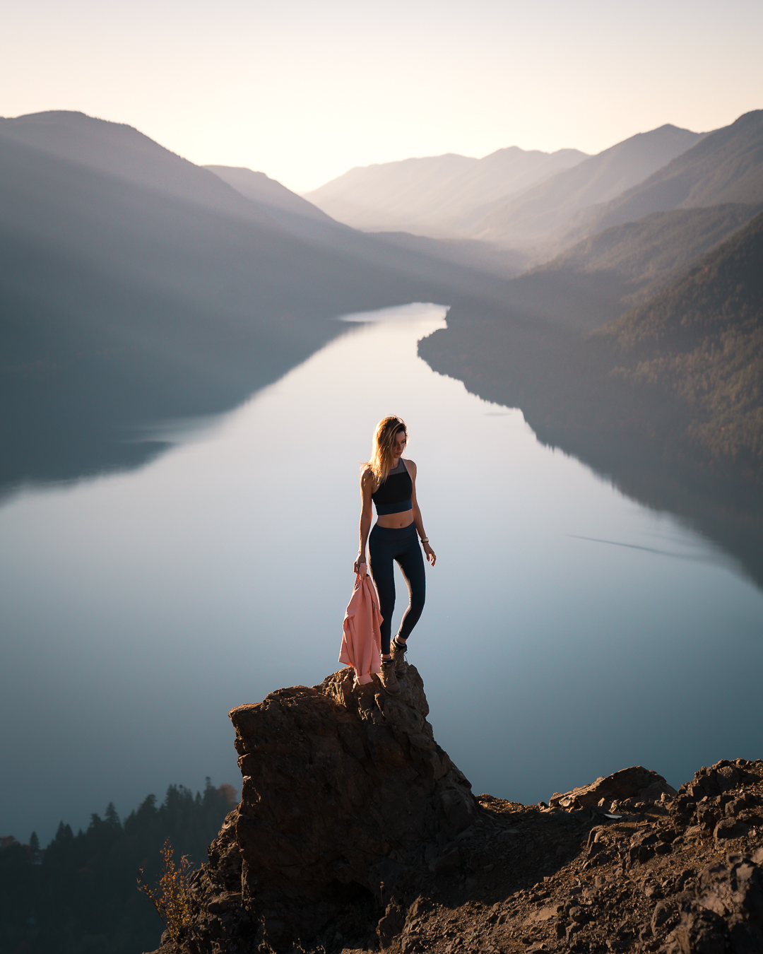 Enjoying the views from the top of the Mount Storm King hike on the Olympic Peninsula in Washington.