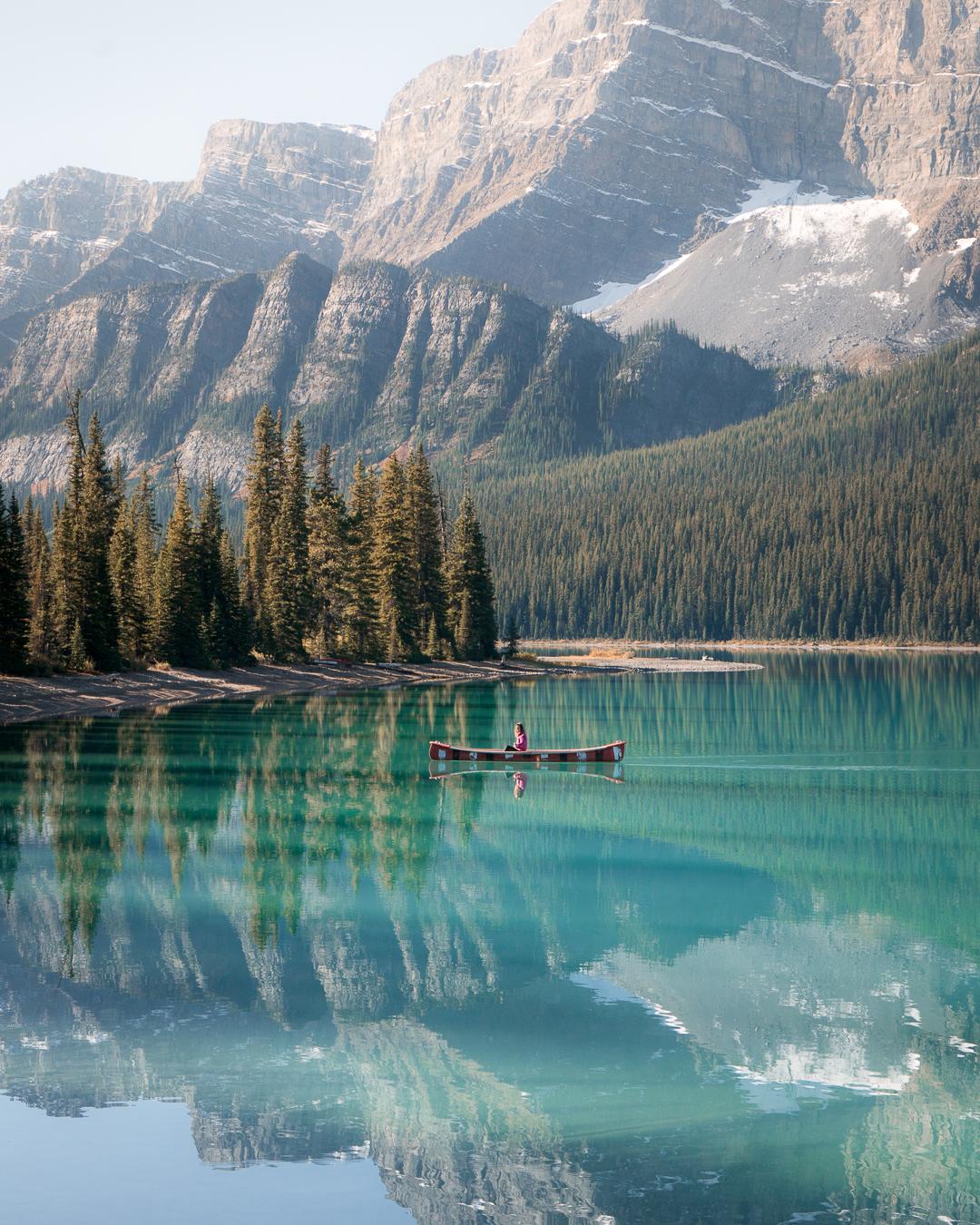 Canoeing on one of Banff's beautiful alpine lakes.
