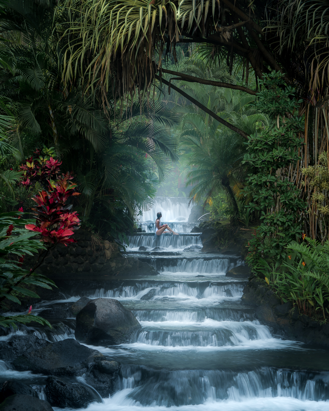 Soaking in the hot springs at Tabacon Thermal Resort & Spa.