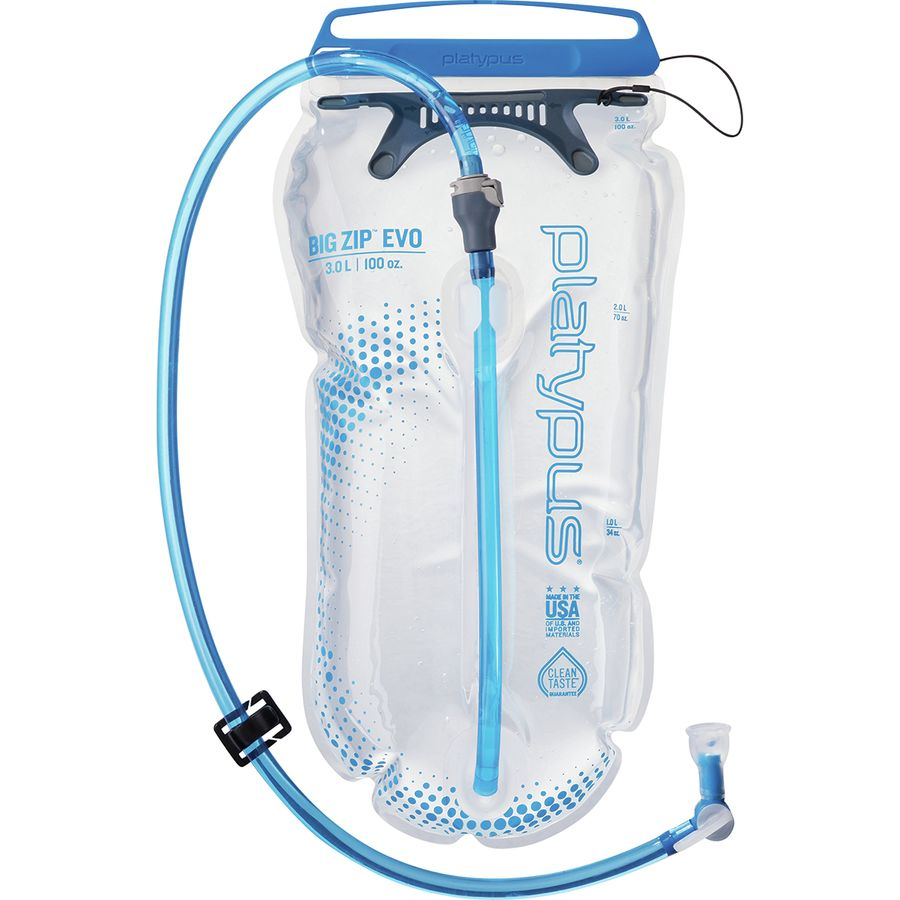 hydration - The Big Zip EVO reservoir has your back on hot days of outdoor adventuring. The hydration reservoir has a clean taste, quick flow rate, and I've never had it leak in my pack - which is about all you can ask for! You can refill your water at the refugios.