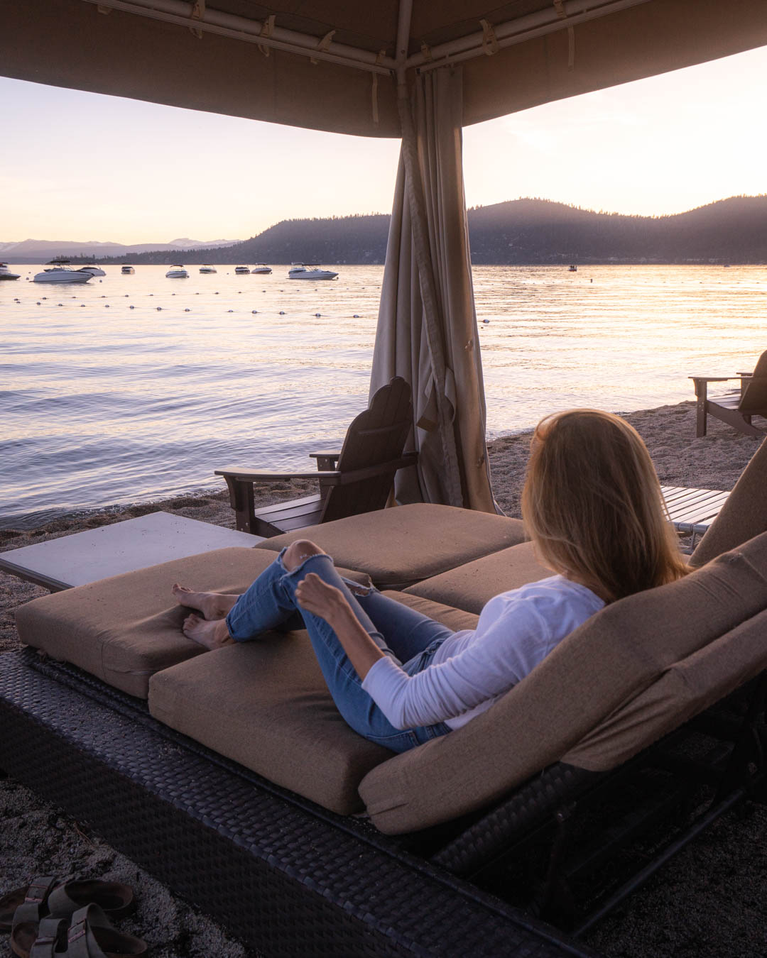 Sunset views from the Hyatt Regency beach at Lake Tahoe.