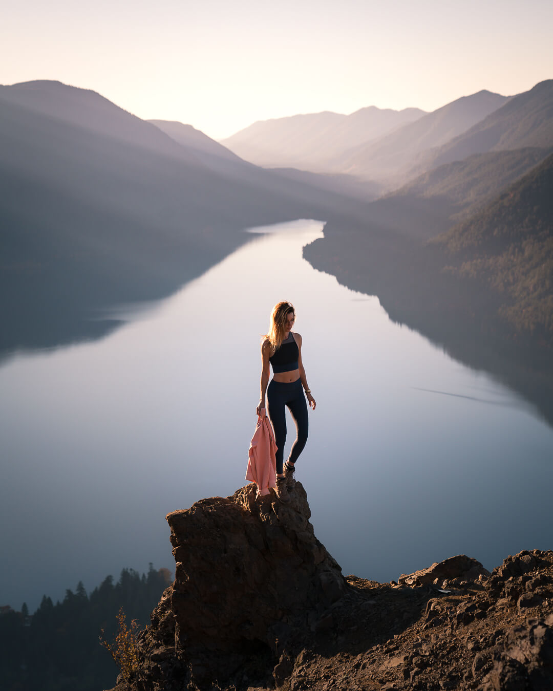Views of Lake Crescent from the top of Mount Storm King on the Olympic Peninsula.