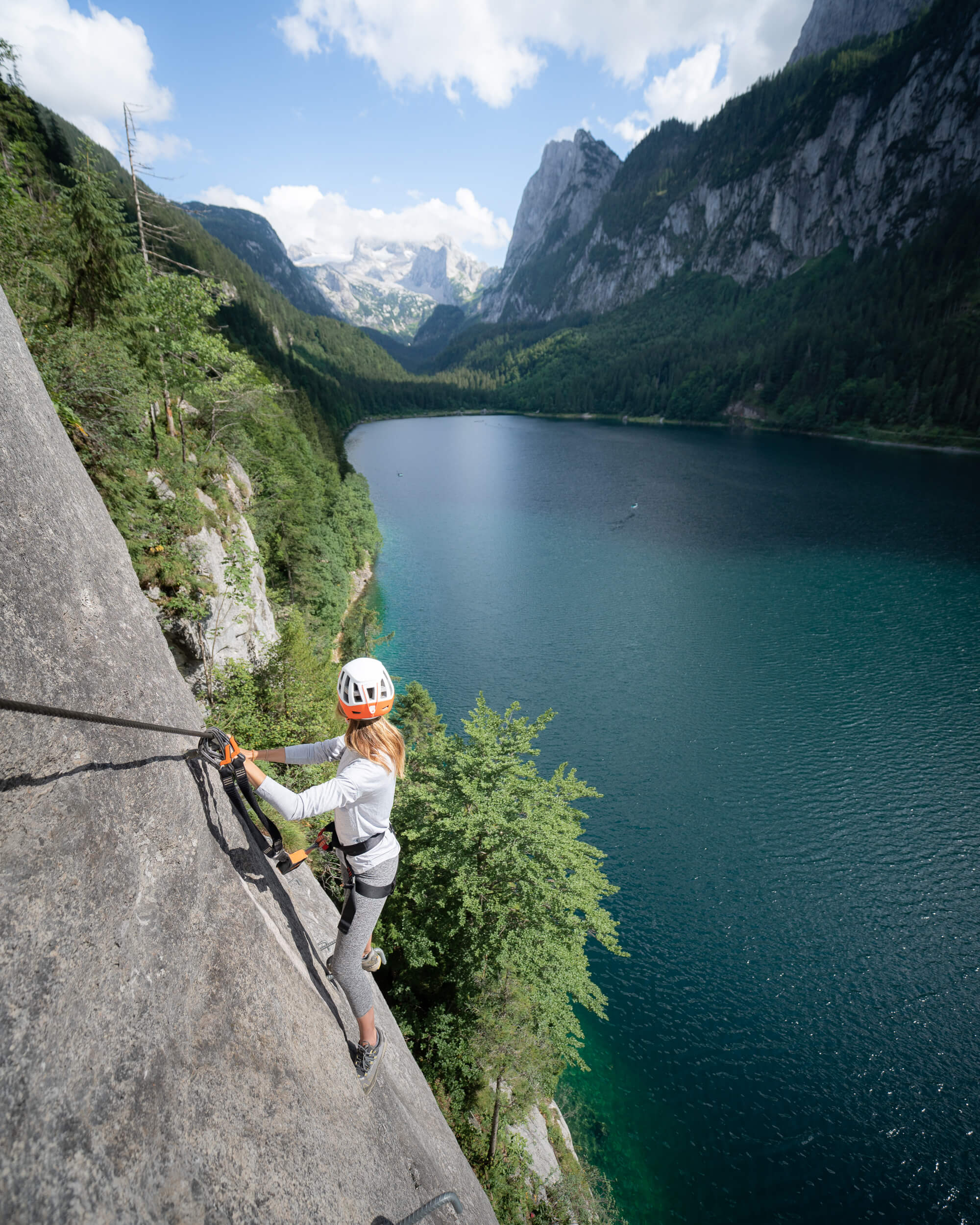 Climbing the Laserer via ferrata. Wearing:  shirt ,  leggings ,  trail running shoes ,  helmet .
