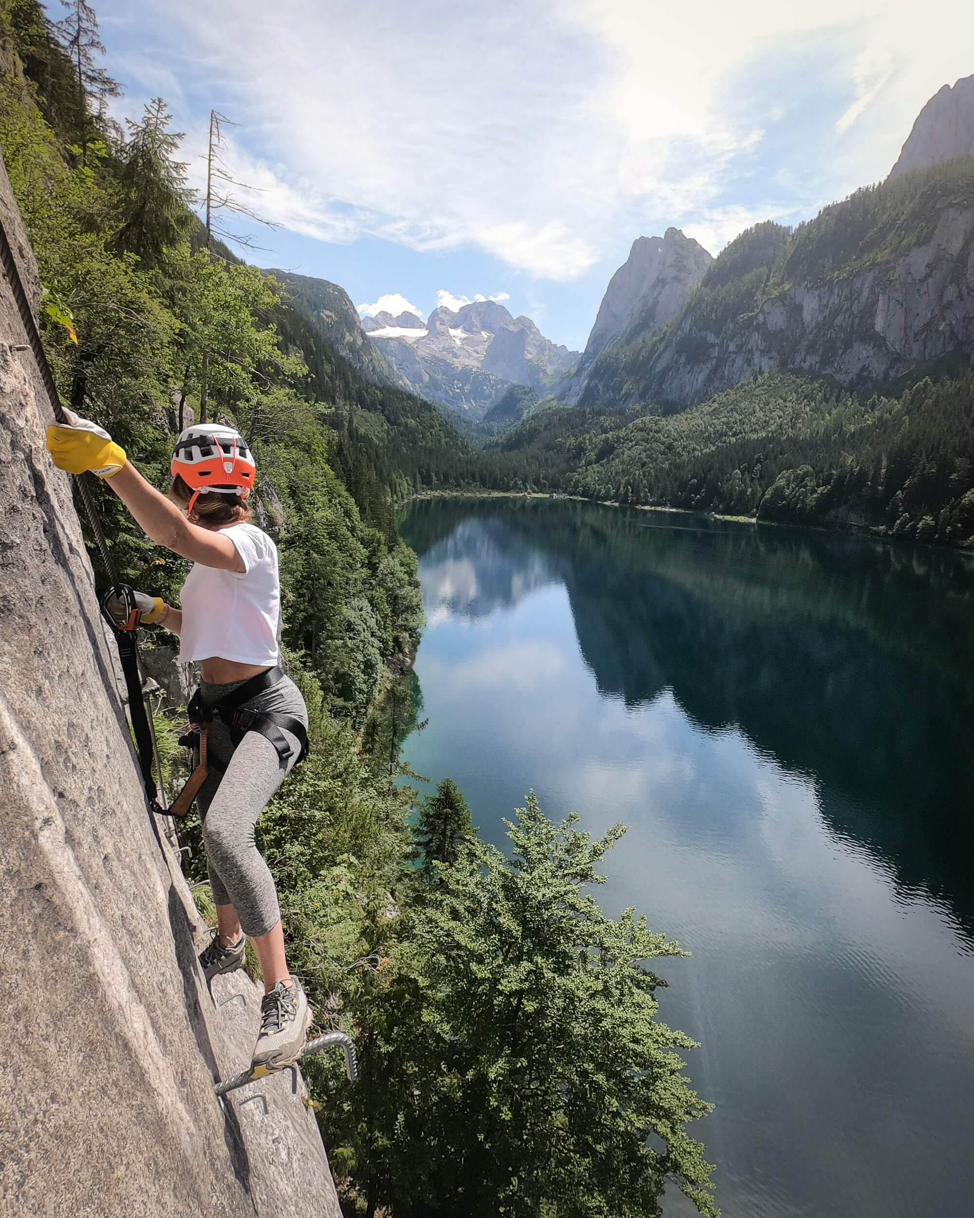 Climbing the Laserer via ferrata to practice for the Ladder to Heaven. Wearing:  leggings ,  trail running shoes ,  helmet .