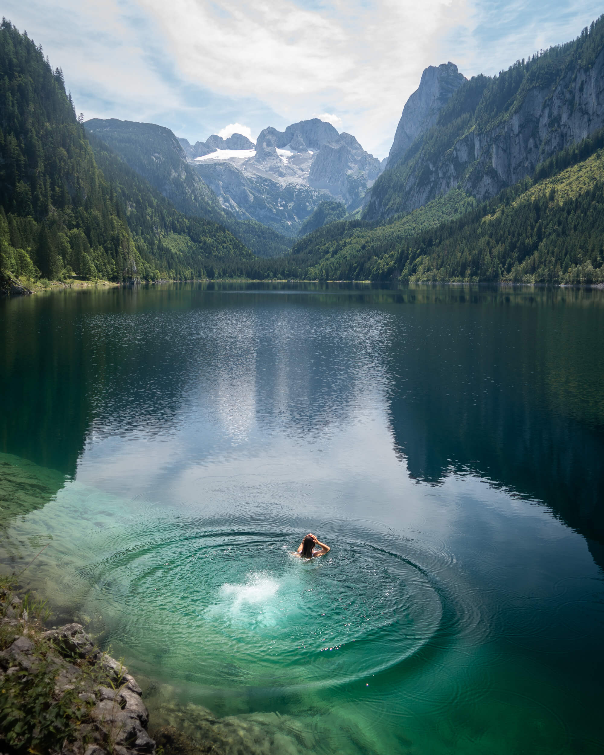 Cooling off in Lake Gosau after completing the via ferrata.