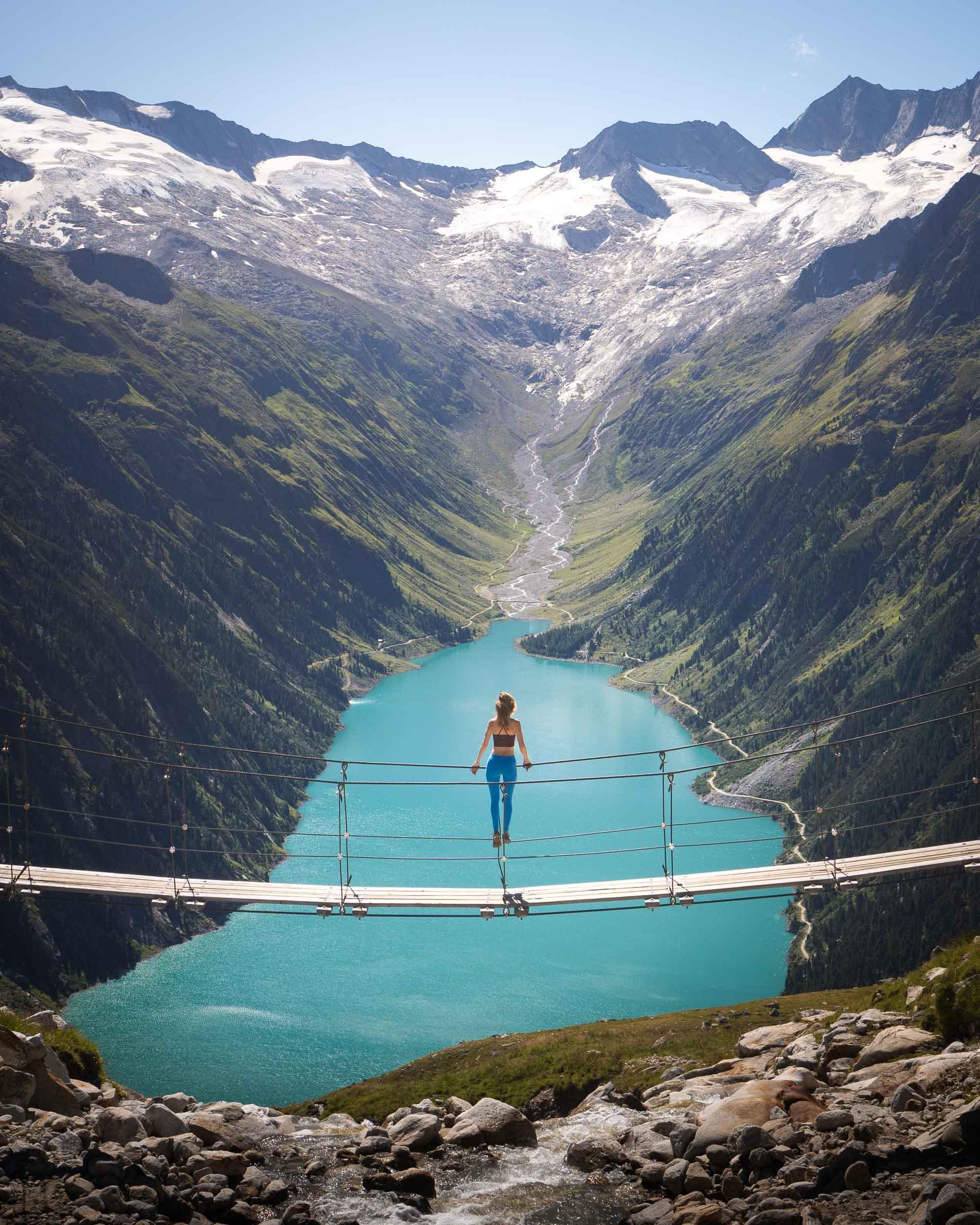 Bridge at Olperer Mountain Hutte in Austria