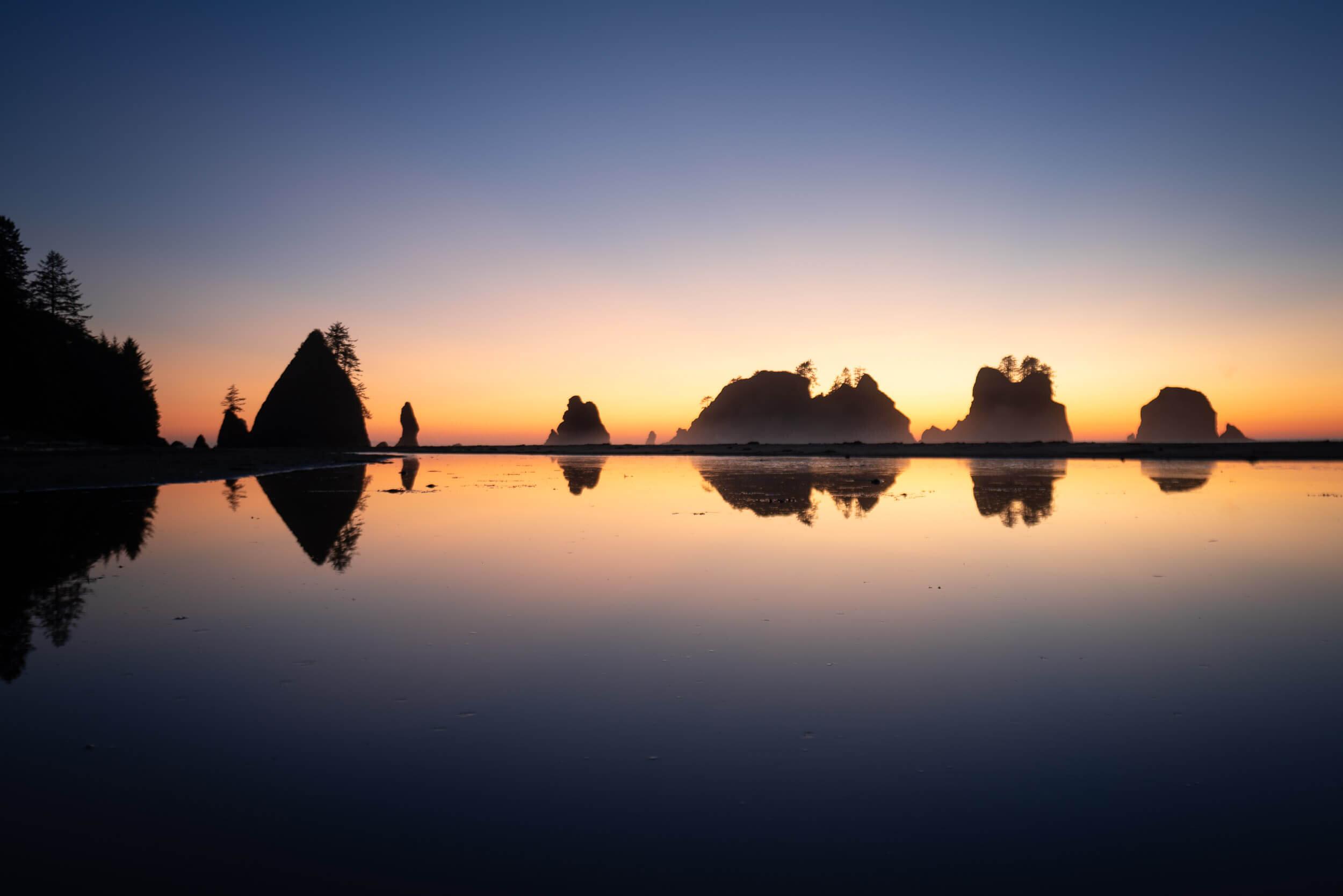 Sun set on Shi Shi beach in Washington State.
