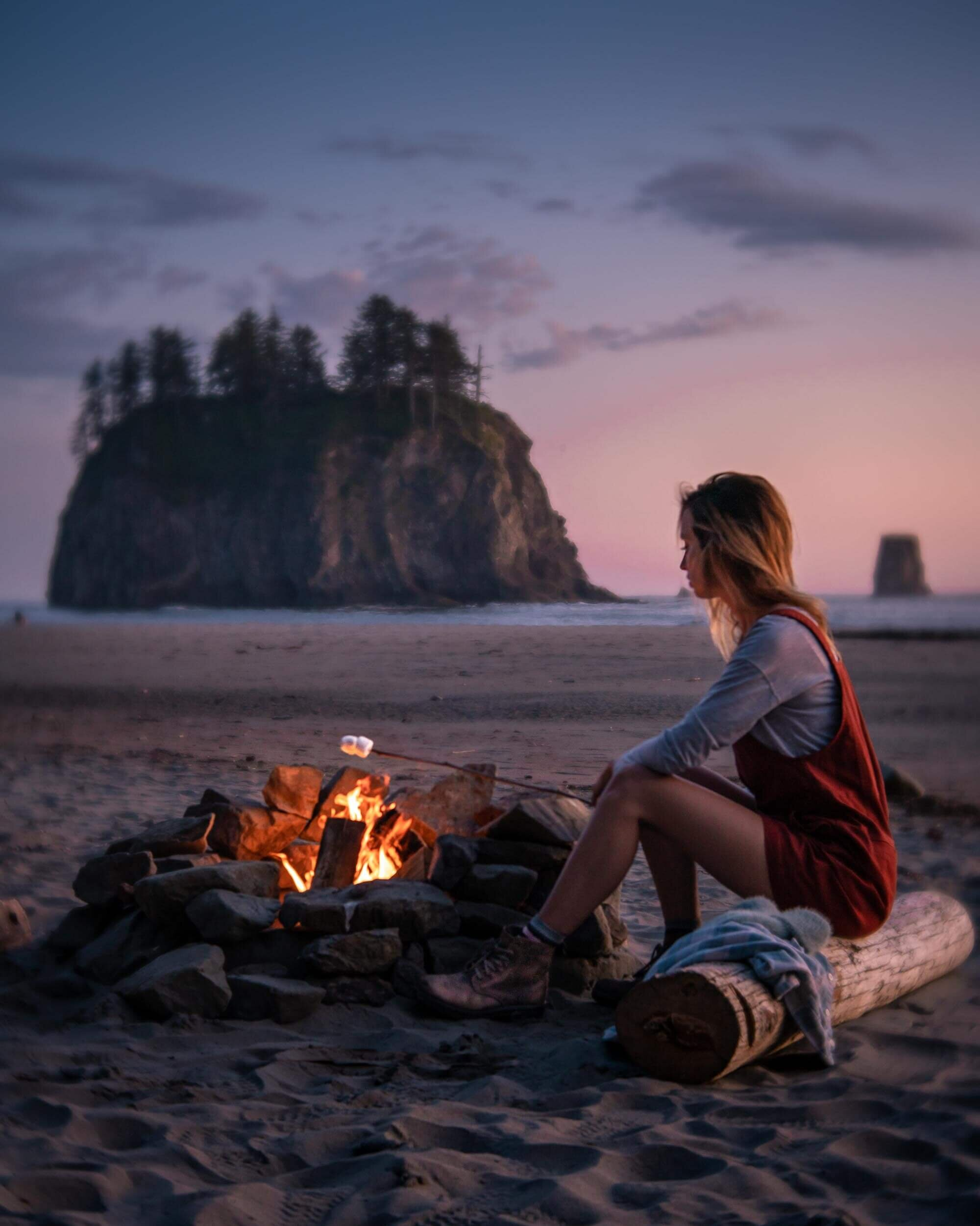 Roasting marshmallows over the camp fire at Second Beach on the Olympic Peninsula in Washington. Wearing: Toad&Co  Jumper  ,The North Face  Long Sleeve Shirt , and Blundstone Lace-Up  Boots .