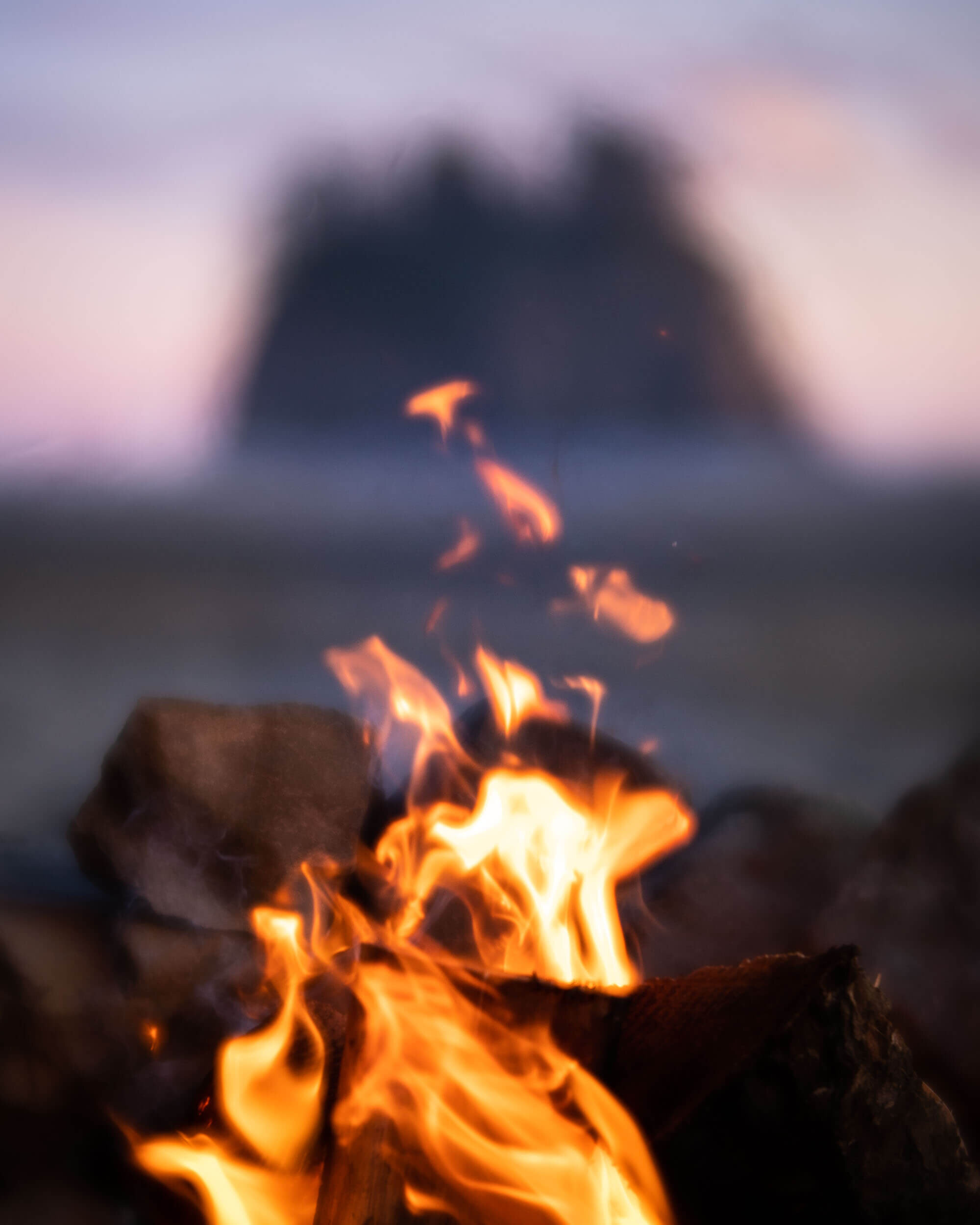 Camp fire on the Olympic Peninsula at Second Beach.