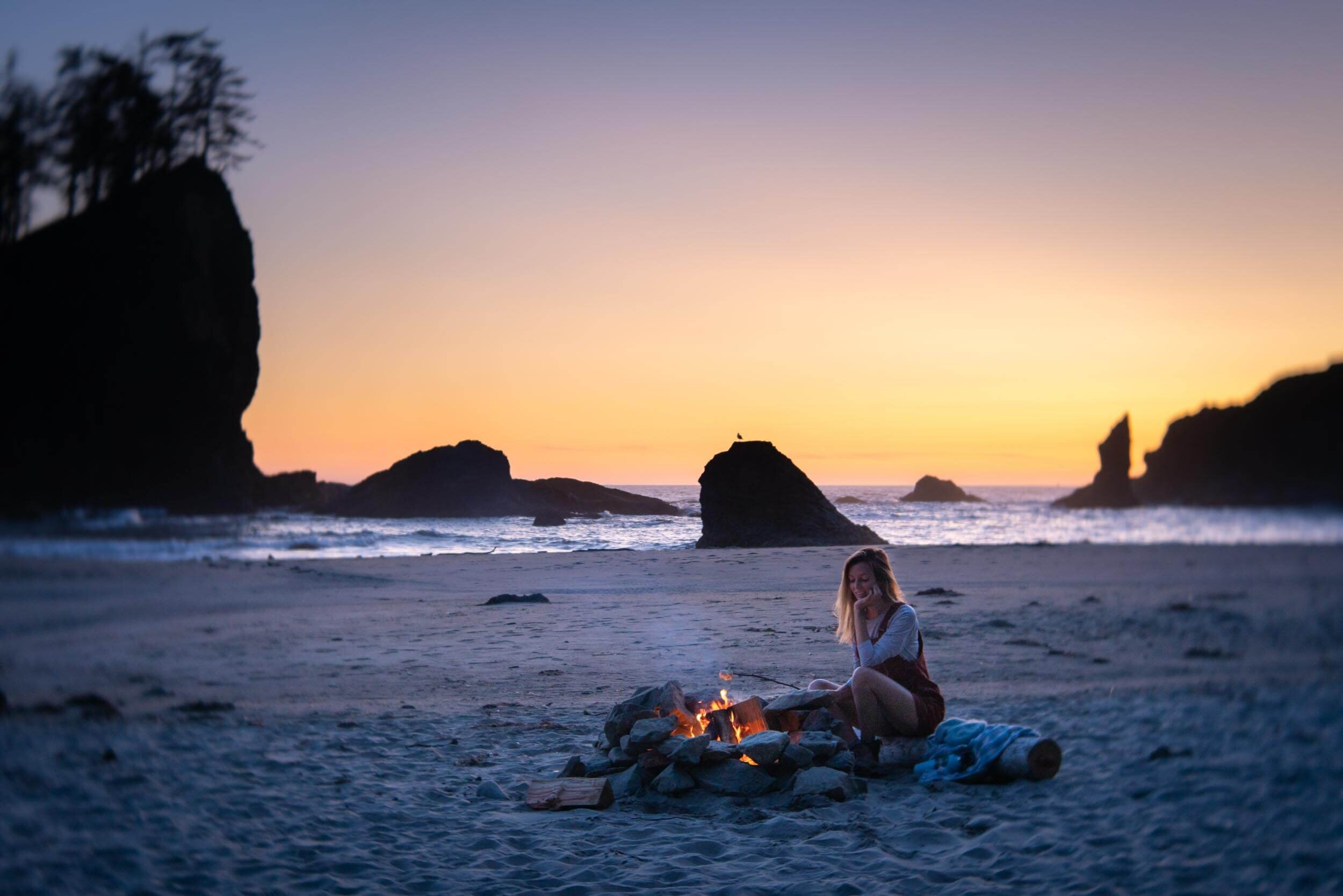 Roasting marshmallows over the camp fire at Second Beach on the Olympic Peninsula in Washington.