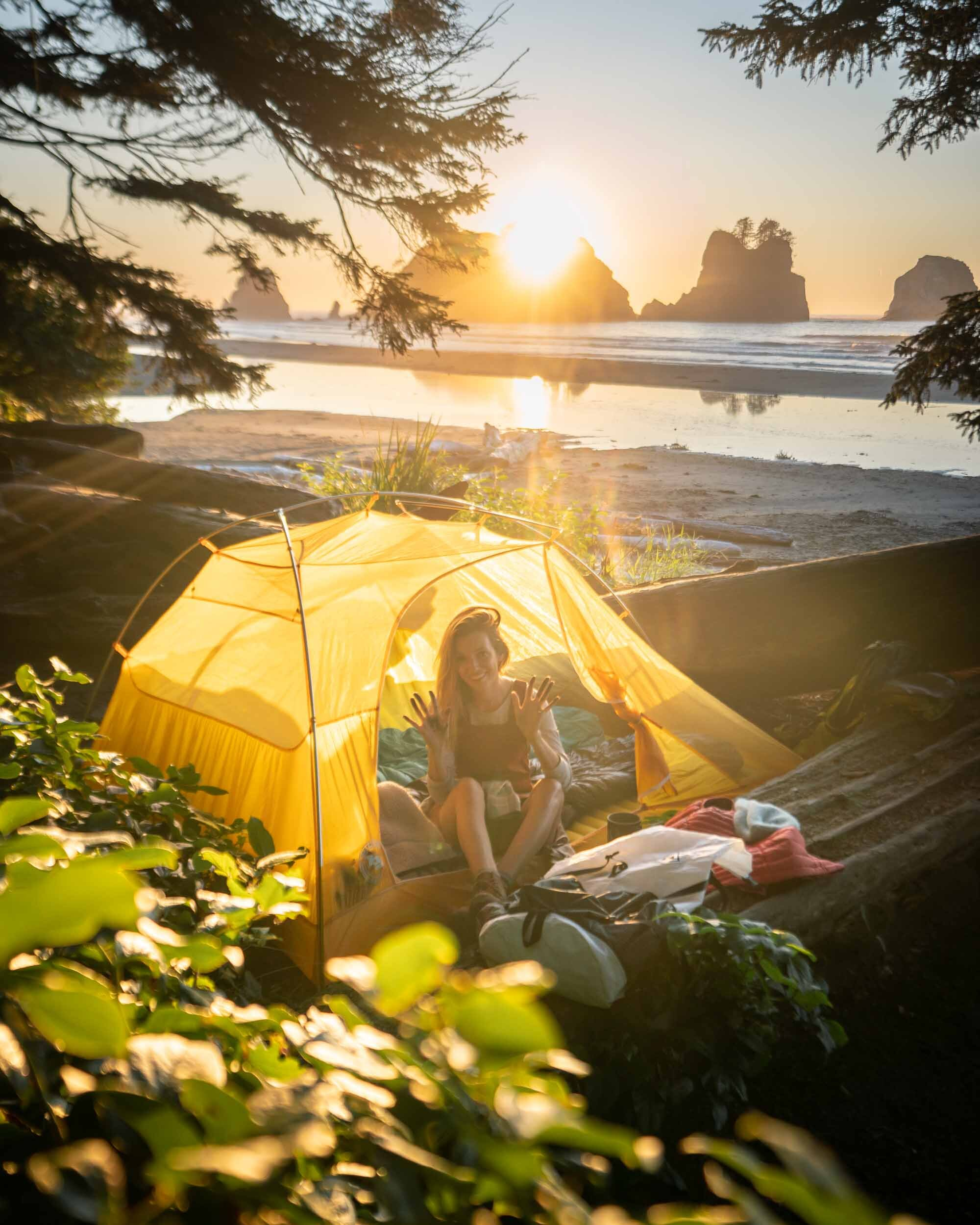 Camping on Shi Shi Beach in Washington State. Wearing: Toad&Co  Jumper  and The North Face  Long Sleeve Shirt . Also Shown: Big Agnes  2 Person Tent .