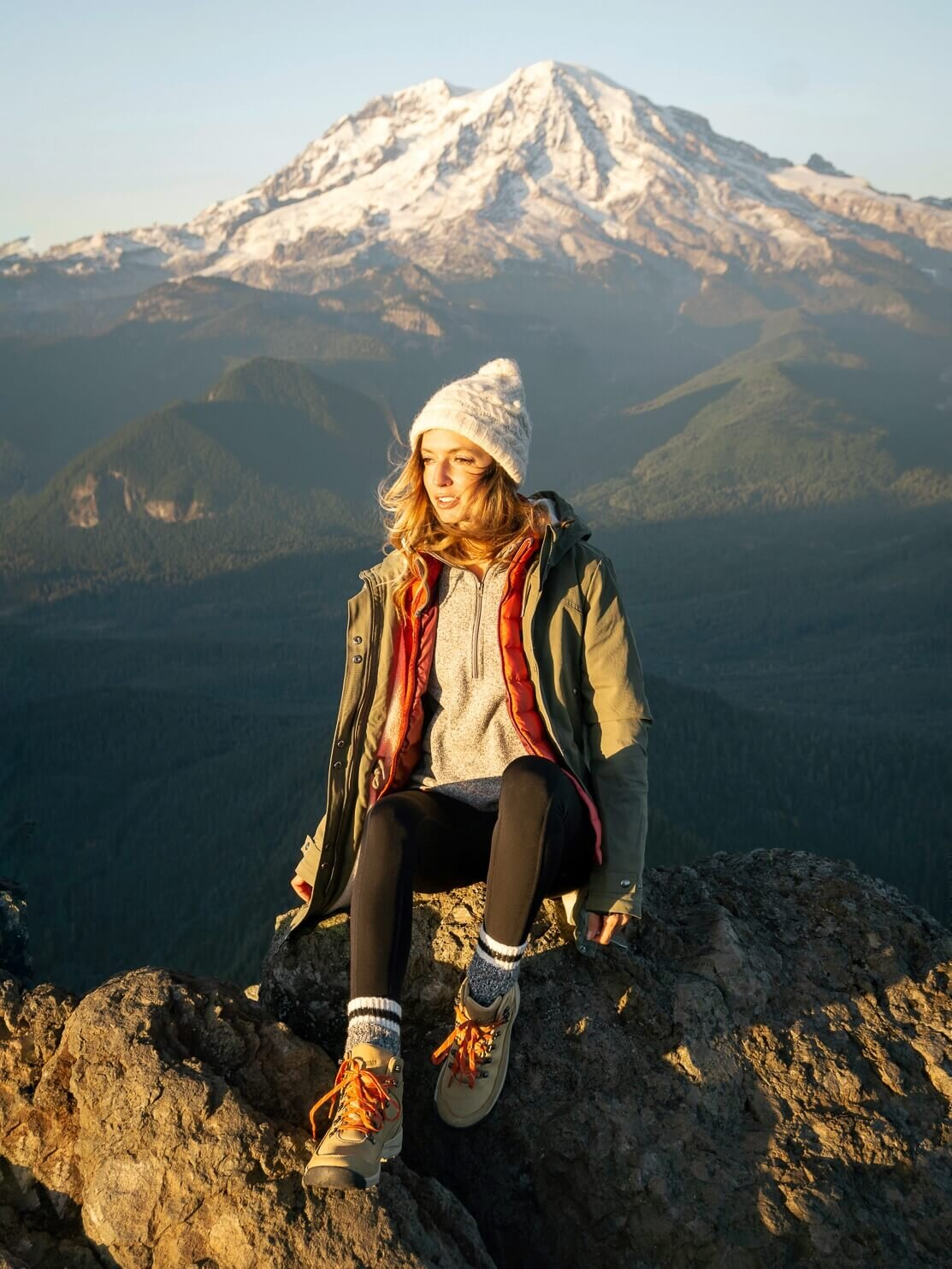 High Rock Lookout in Washington State. Tops : Patagonia  Fleece Jacket , Patagonia Down  Sweater Vest  ,  Valcom  Parka  ; Bottoms:  The North Face  Winter Warm Tight  ; Shoes:  Danner  Hiker Boot