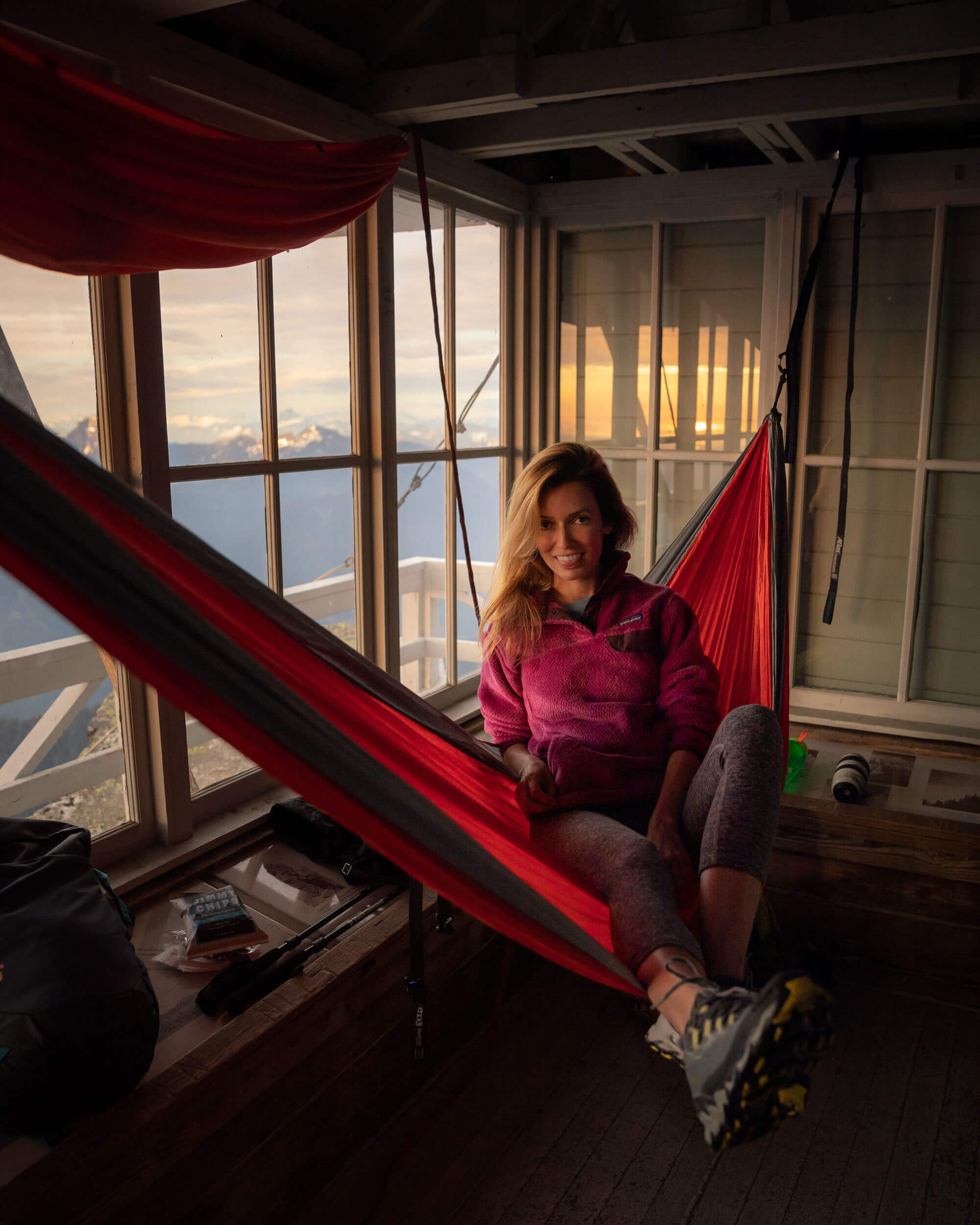 Pilchuck Lookout is probably one of the most popular in Washington State due to its relatively close proximity to Seattle. Wearing : Beyond Yoga  leggings , Patagonia Snap-T Fleece  jacket ;  Shoes : La Sportiva  trail running shoes ; ENO  hammock  // Photo by  Kyle Kotajarvi