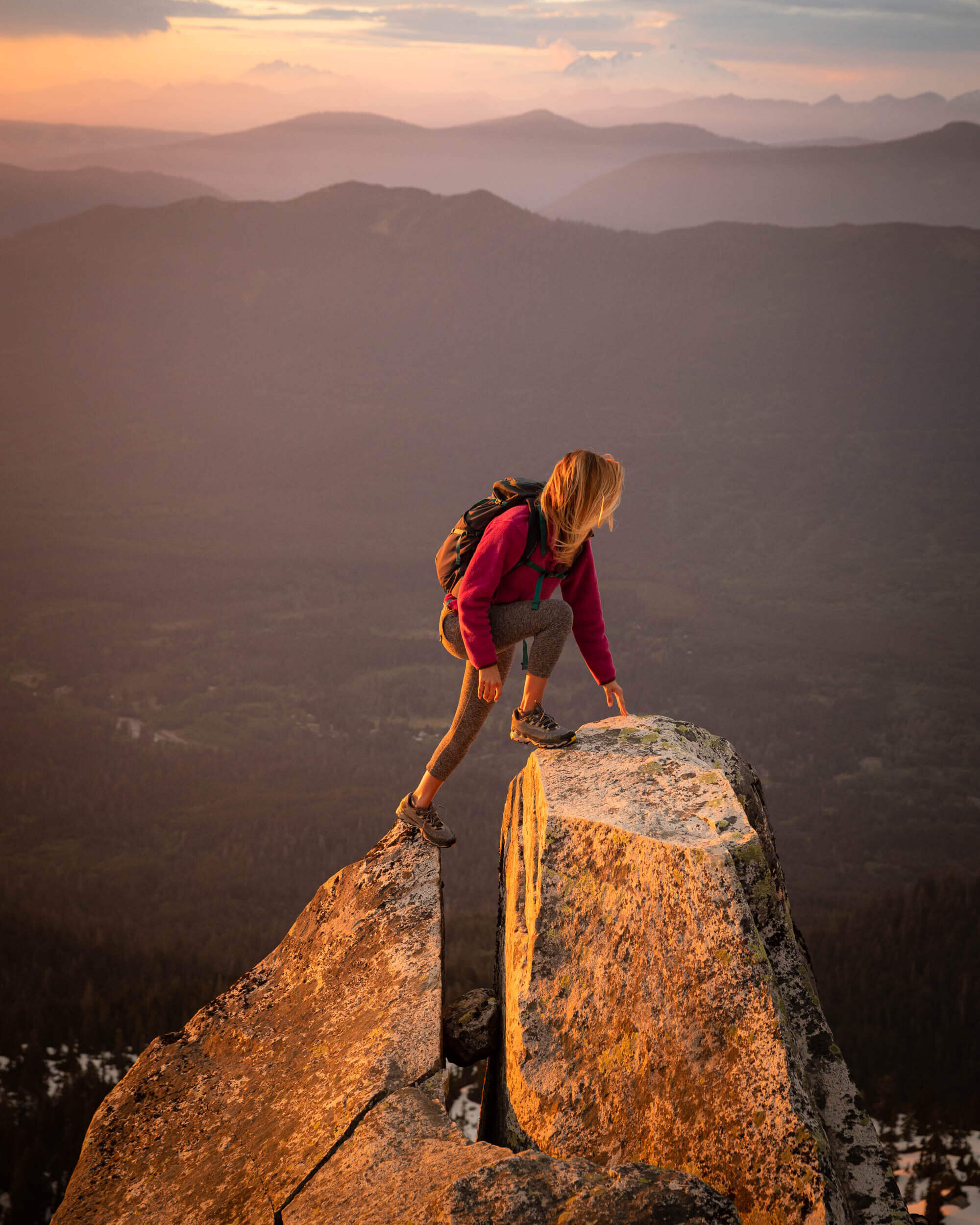 The view from Pilchuck Lookout in Washington State. Wearing : Beyond Yoga  leggings , Patagonia Snap-T Fleece  jacket ;  Shoes : La Sportiva  trail running shoes ;  Backpack : Patagonia Nine Trails 26L  Backpack  // Photo by  Kyle Kotajarvi