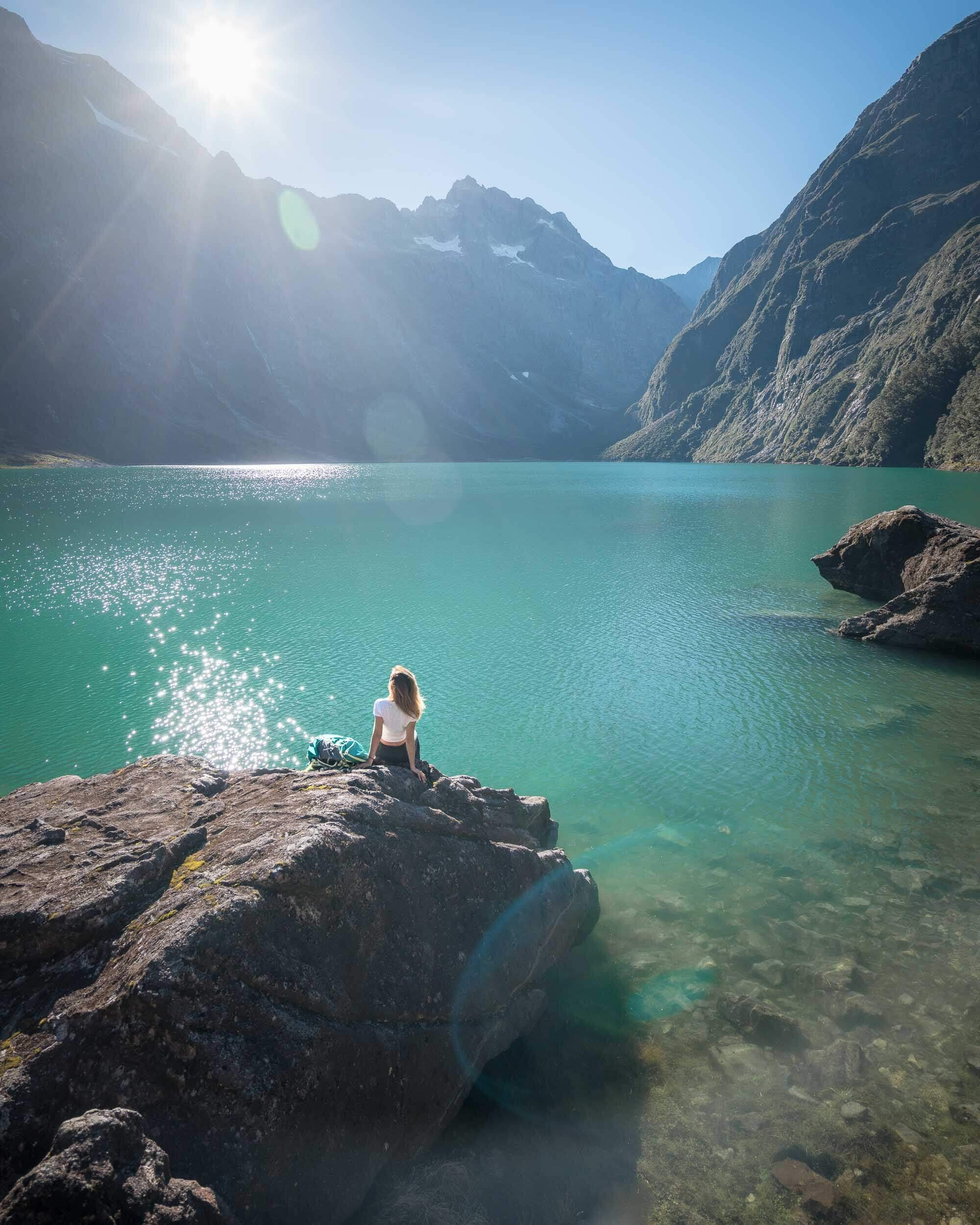 Lake Marian on New Zealand's South Island. We spent 2 nights camping here.