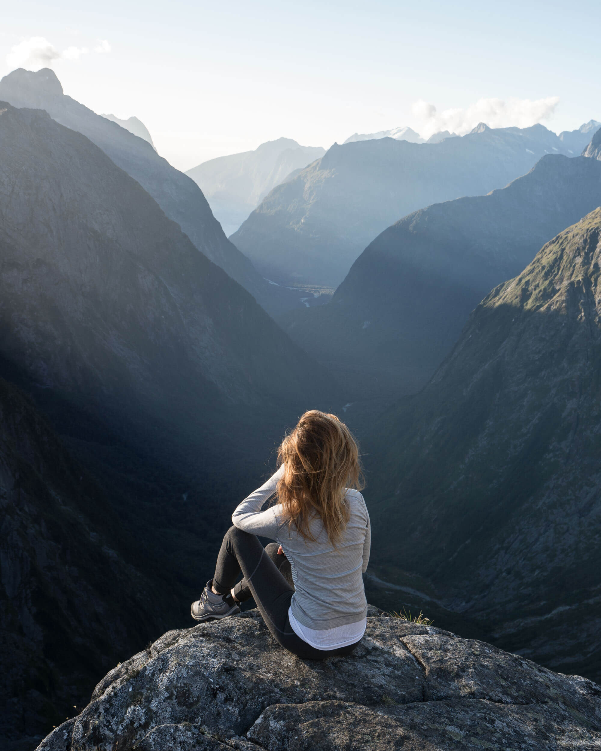 The view from the top of Gertrude Saddle down to Milford Sound.