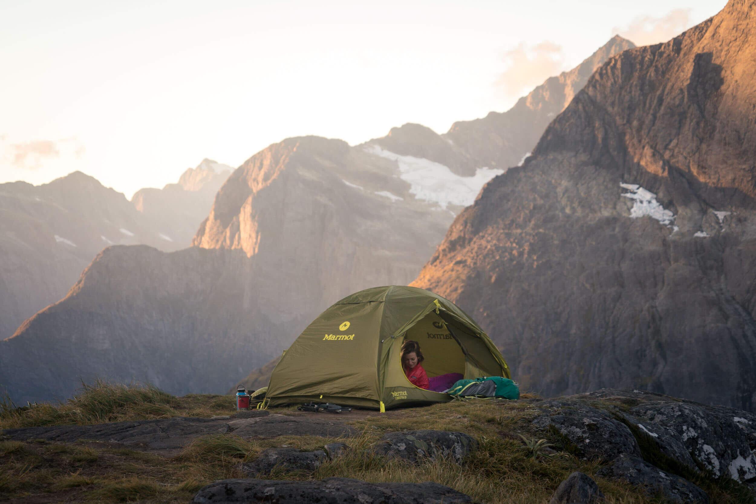 Camping at the top of Gertrude Saddle.