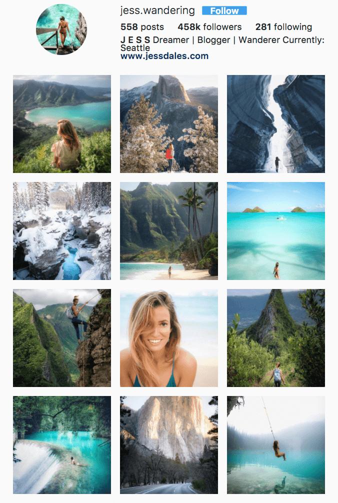 Jess Wandering's Instagram Account.