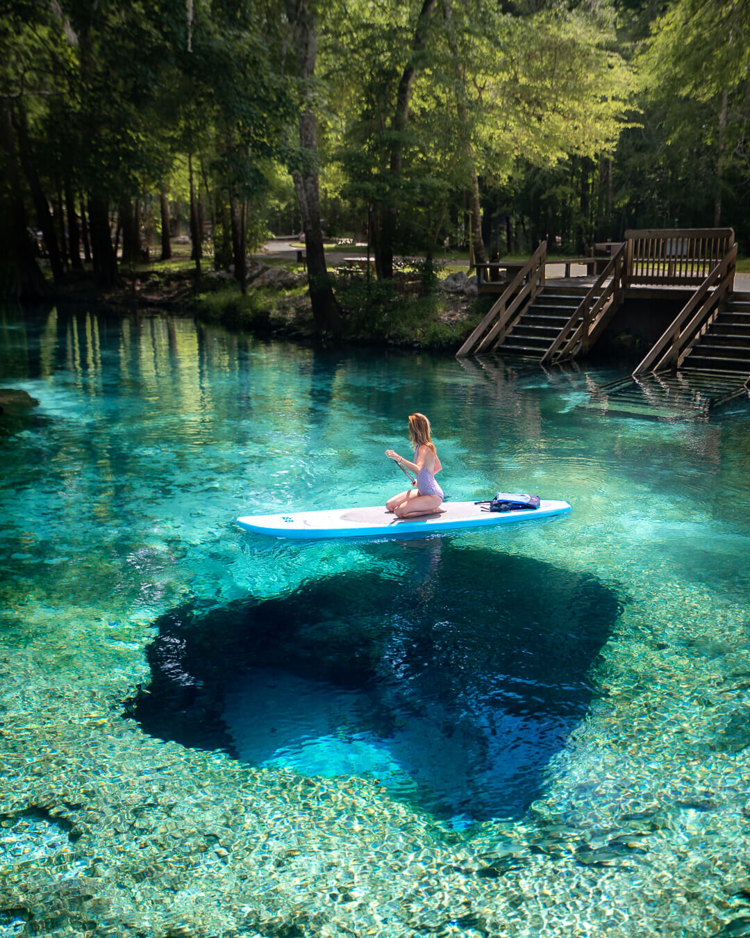 Paddle Boarding at Ginnie Springs in Florida.