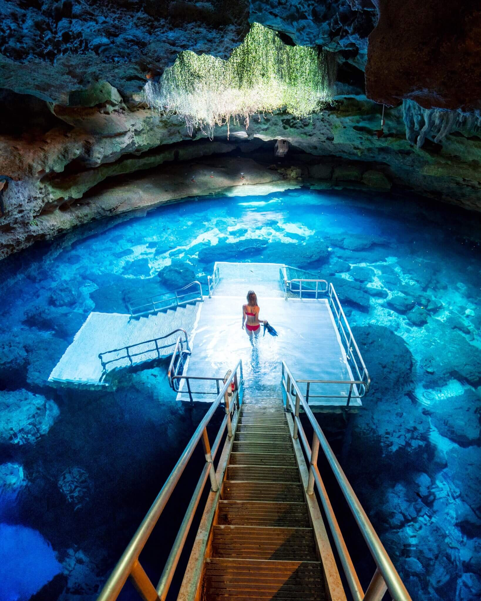 Resembling one of Mexico's cenotes, Devils Den is now a privately owned scuba training center.