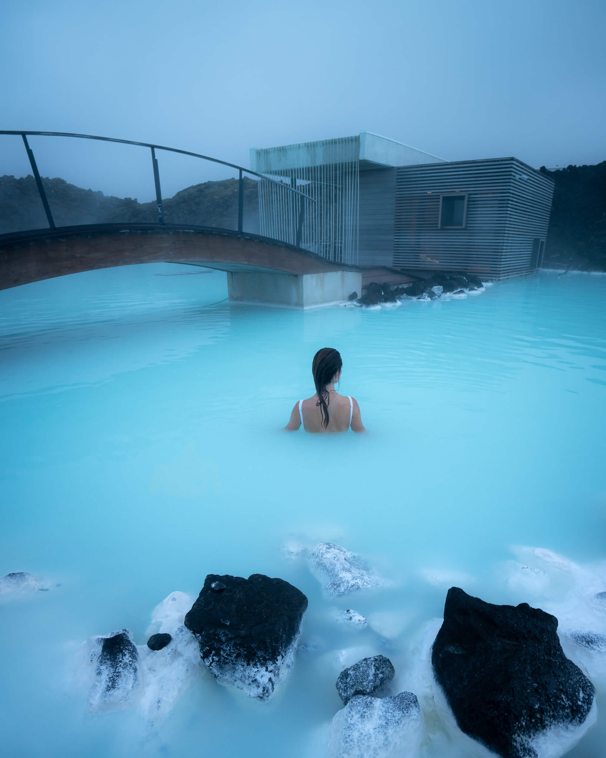 Relaxing at the Blue Lagoon Geothermal Spa before heading to the airport.