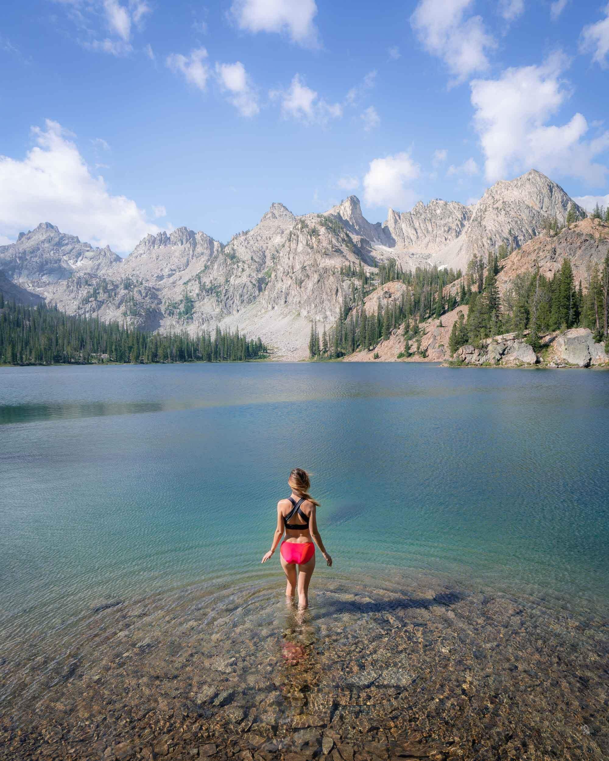 Taking a dip at Alice Lake.