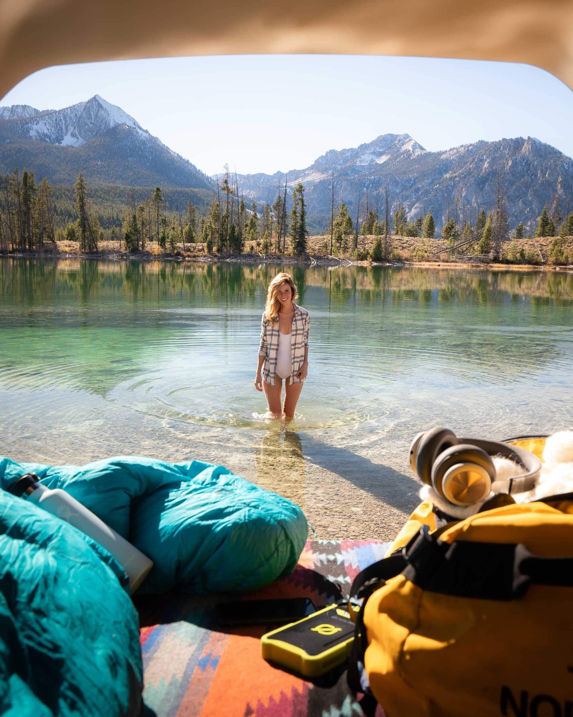 "Hanging out on the ""boat ramp"" at Pettit Lake, Idaho."
