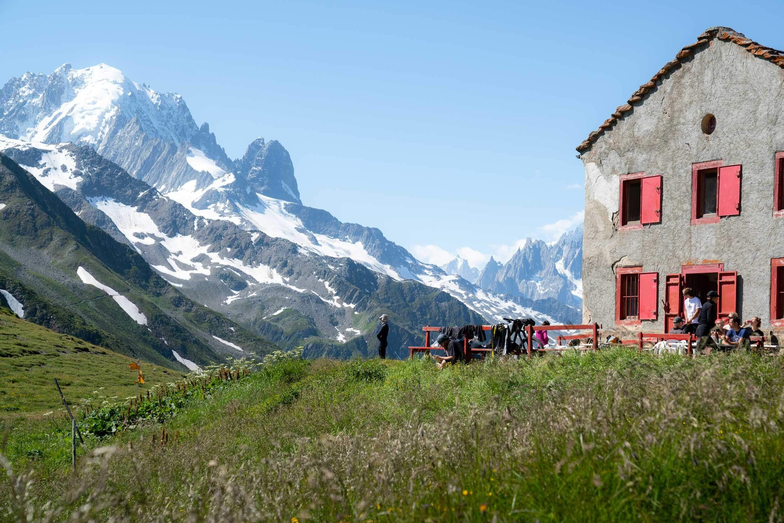 Stopping for lunch at a refugio along the Tour du Mont Blanc.