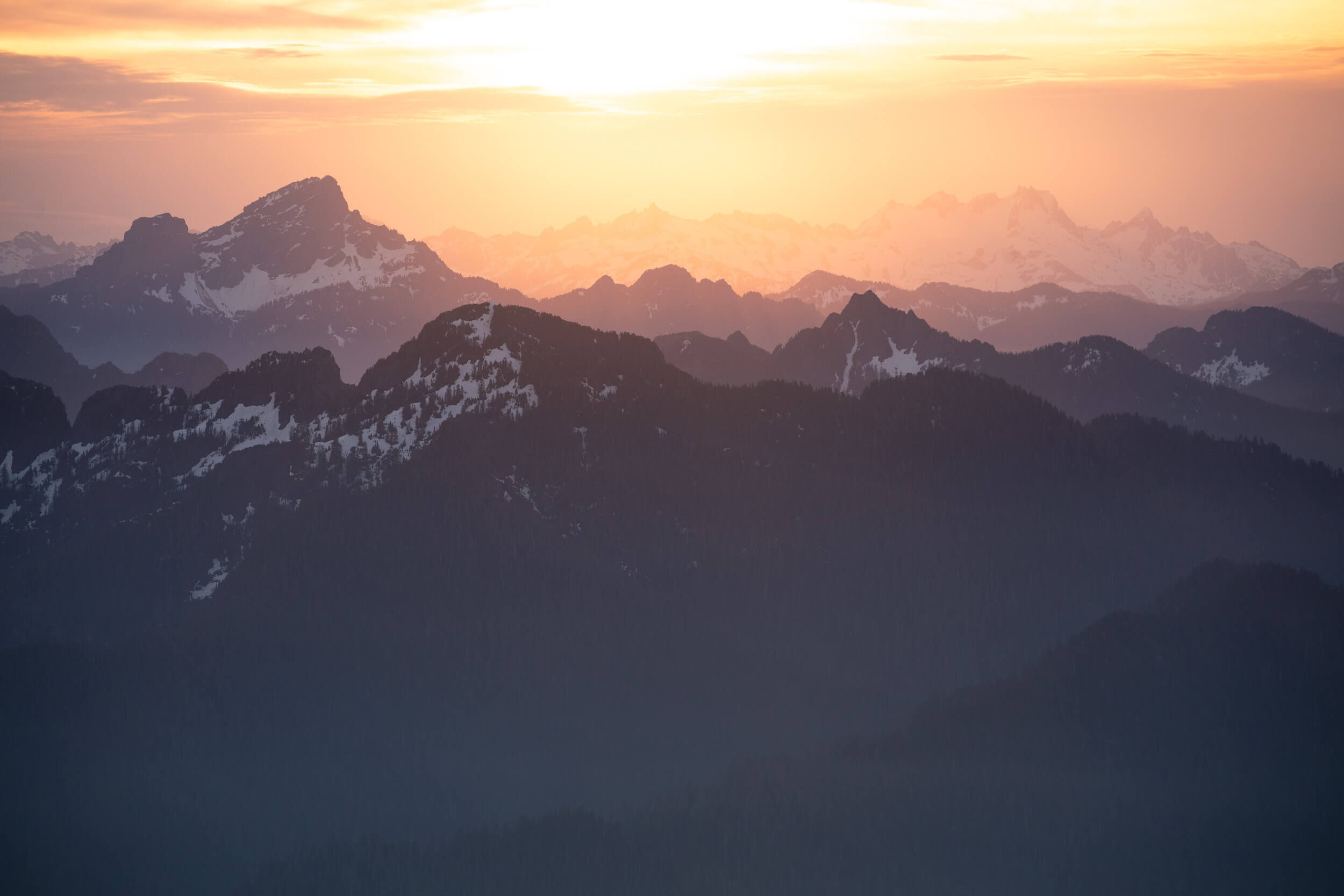 The view at sunset from Pilchuck Lookout in Washington.