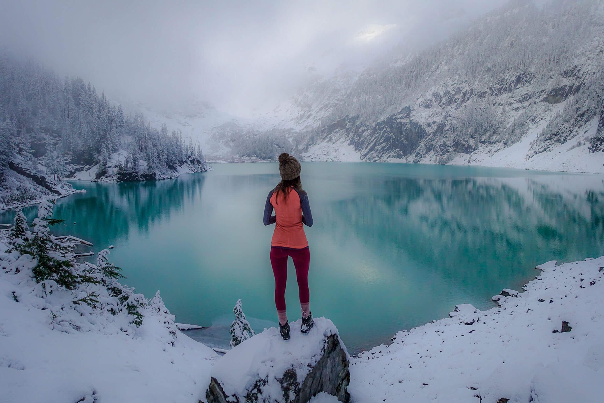 The first snow at Blanca Lake in Washington.