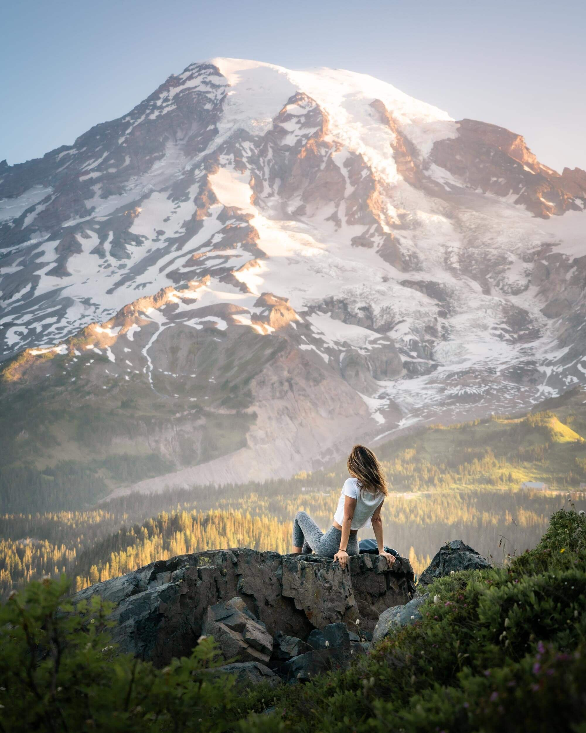 Expansive views of Mount Rainier at sunrise from the Paradise side of the Mountain.