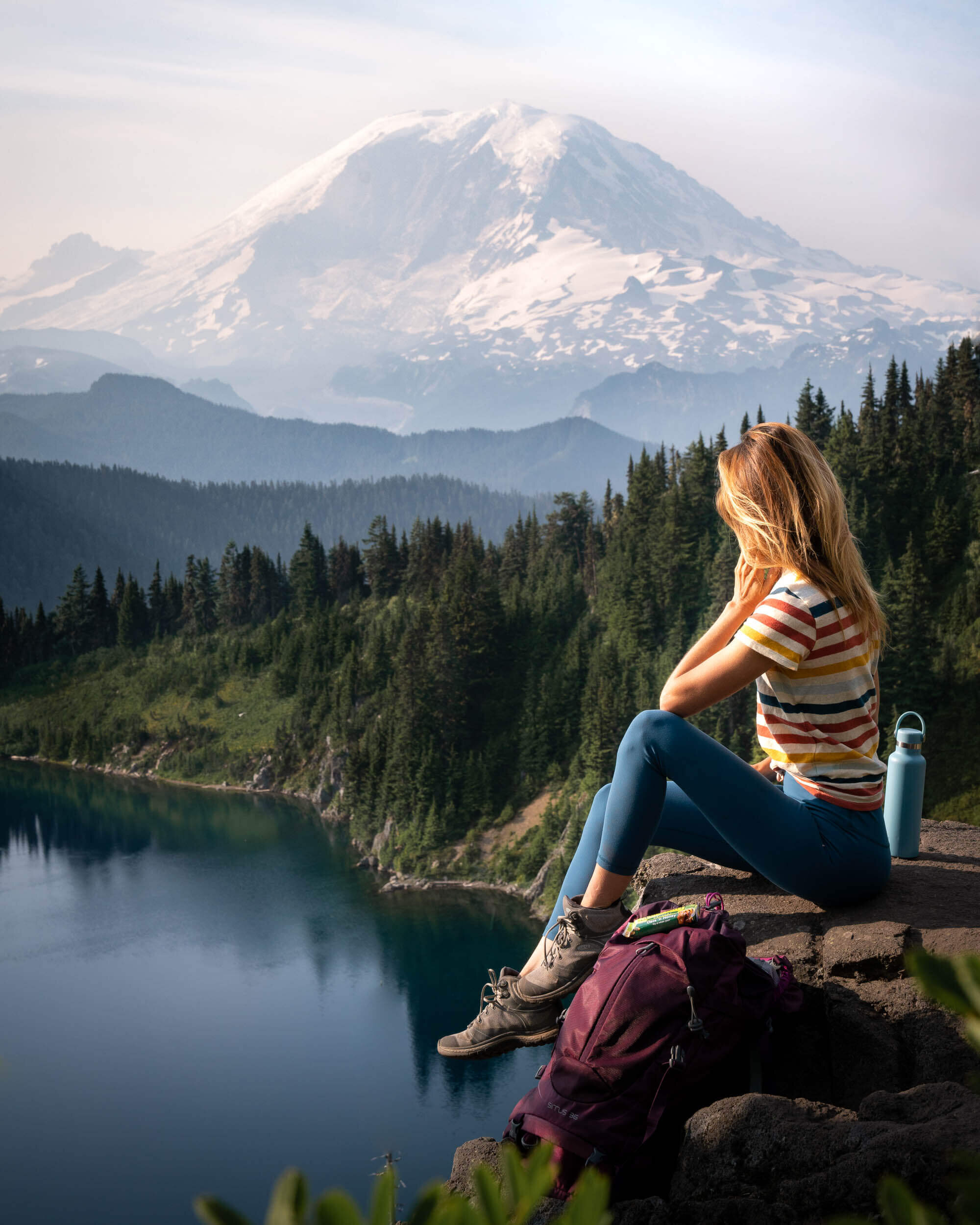 Summit Lake Hike in Washington offers beautiful views of Mount Rainier. Wearing: Keen  Hiking Boots , Osprey  Sirrus 36 Backpack , and  Hydroflask .